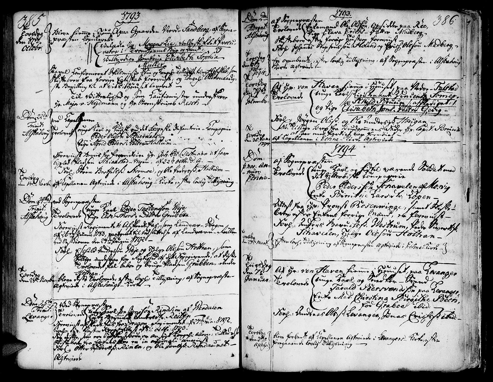 SAT, Ministerialprotokoller, klokkerbøker og fødselsregistre - Nord-Trøndelag, 717/L0141: Ministerialbok nr. 717A01, 1747-1803, s. 385-386