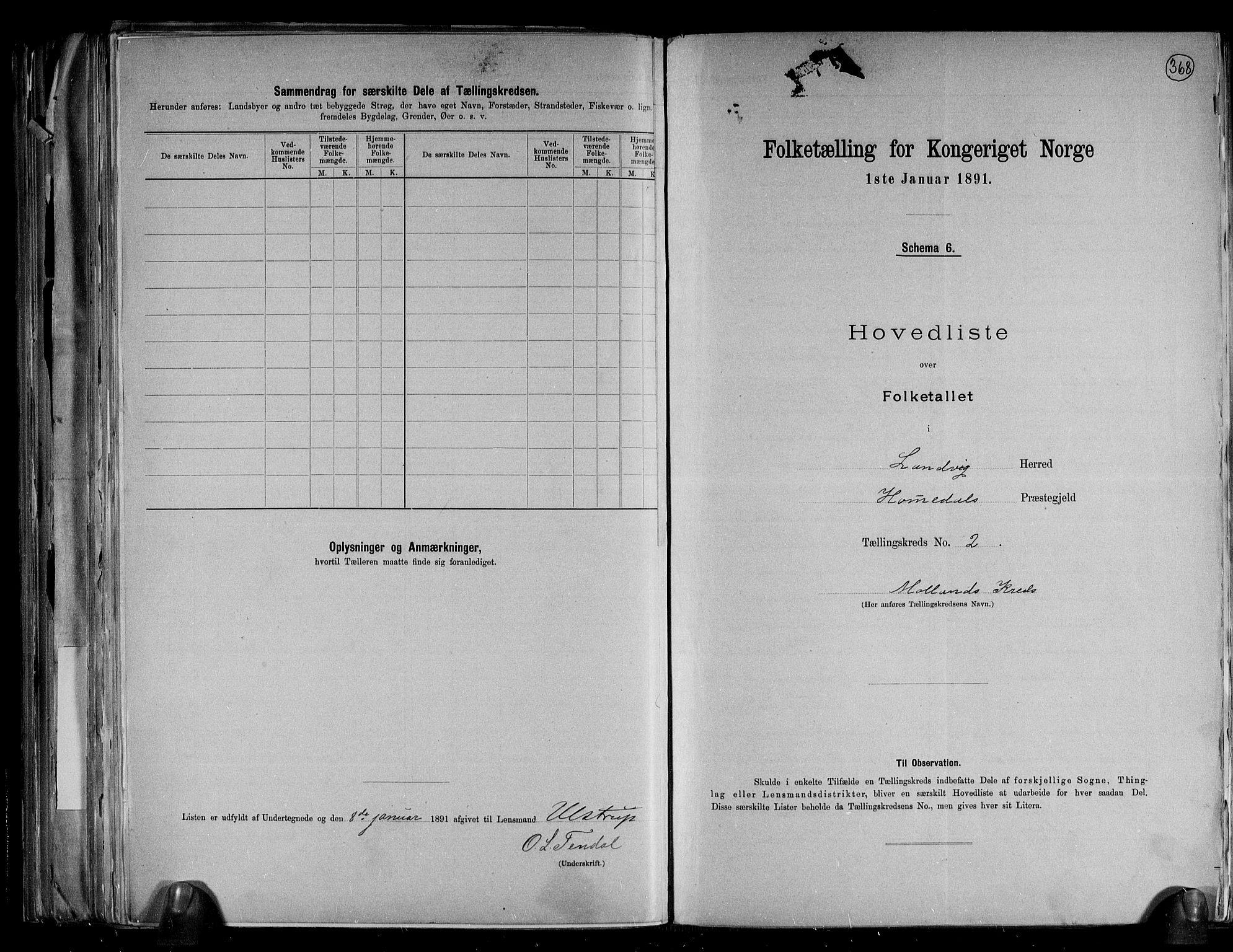 RA, Folketelling 1891 for 0924 Landvik herred, 1891, s. 7