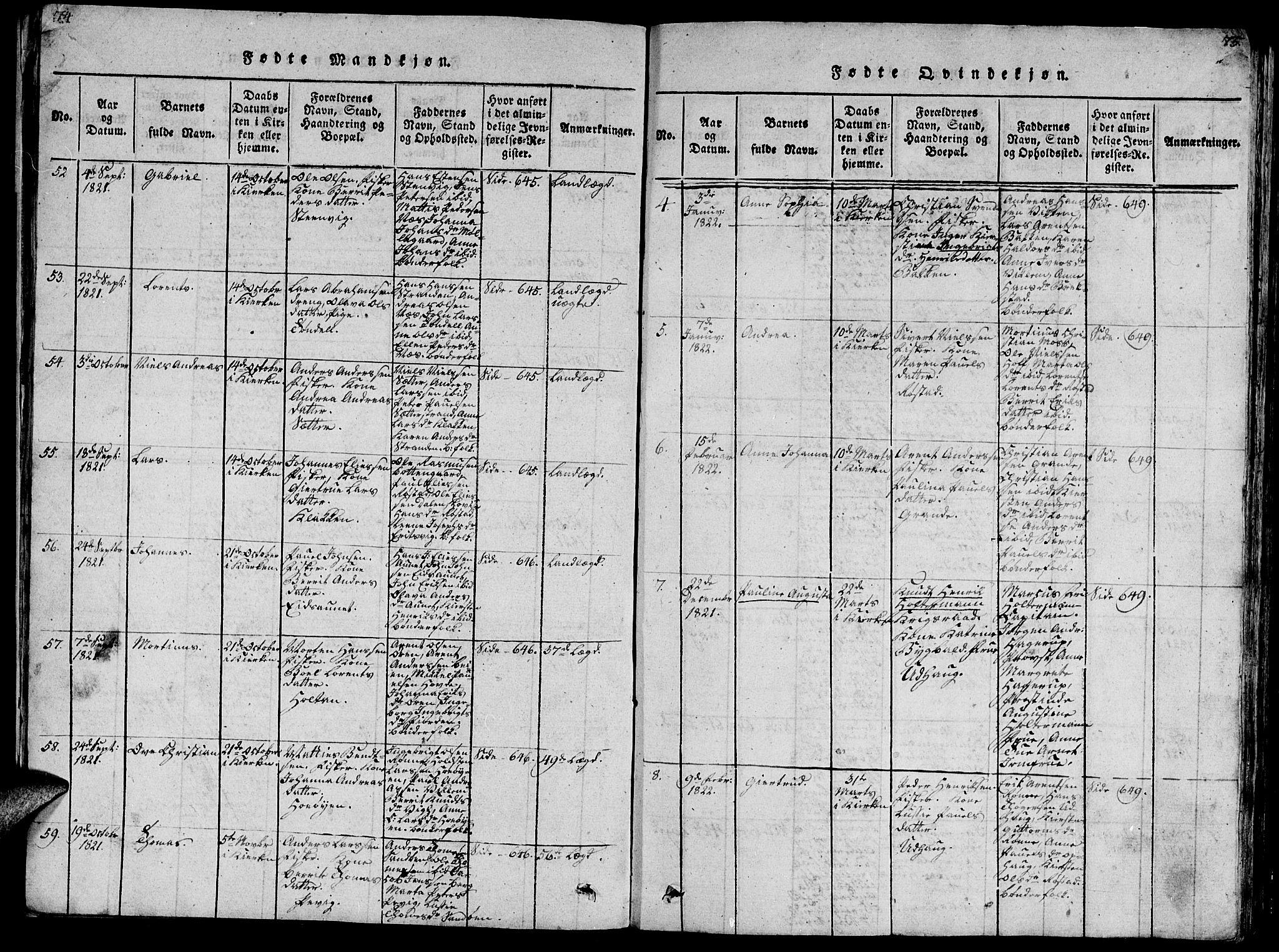 SAT, Ministerialprotokoller, klokkerbøker og fødselsregistre - Sør-Trøndelag, 659/L0744: Klokkerbok nr. 659C01, 1818-1825, s. 74-75
