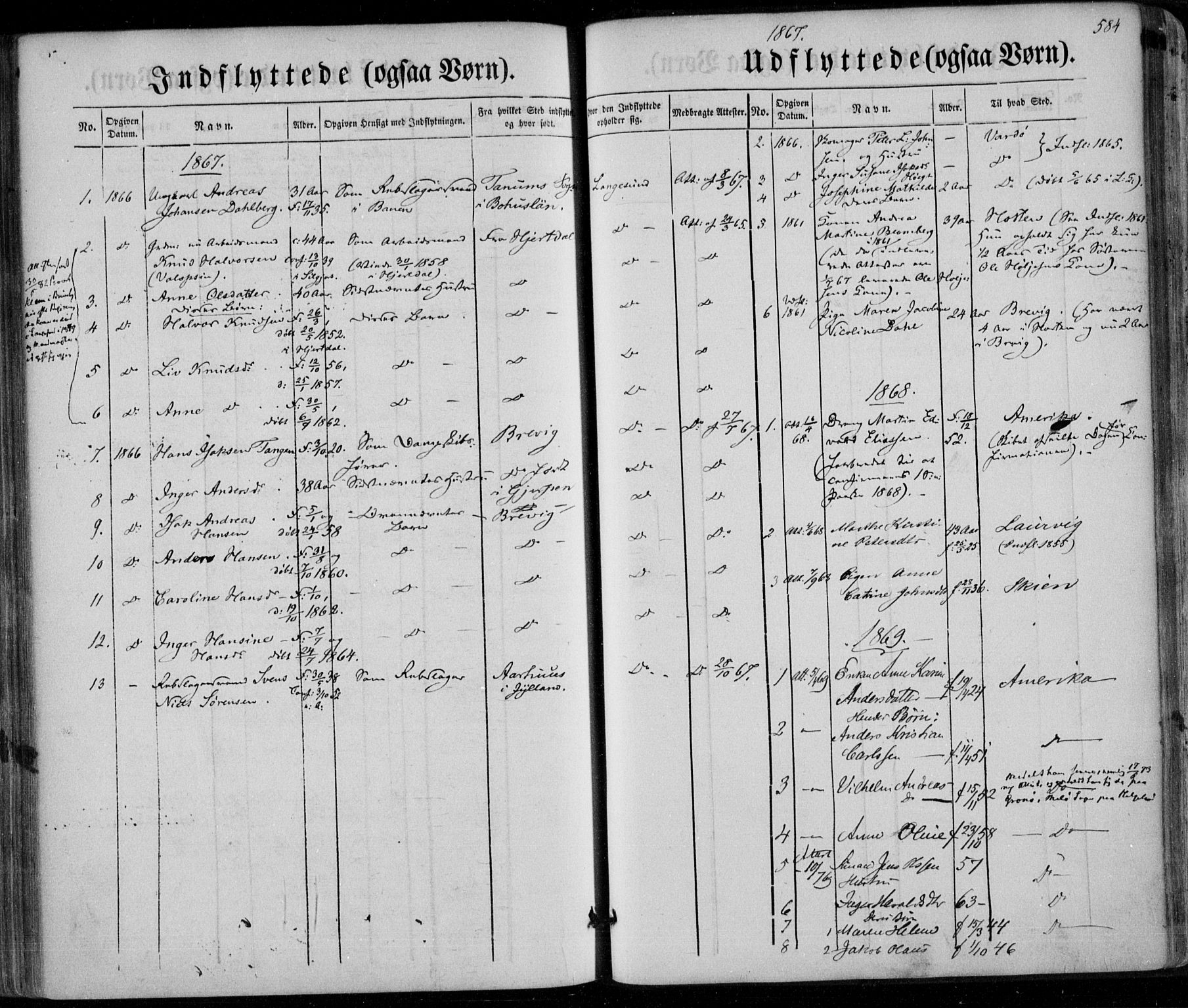 SAKO, Bamble kirkebøker, F/Fa/L0005: Ministerialbok nr. I 5, 1854-1869, s. 584