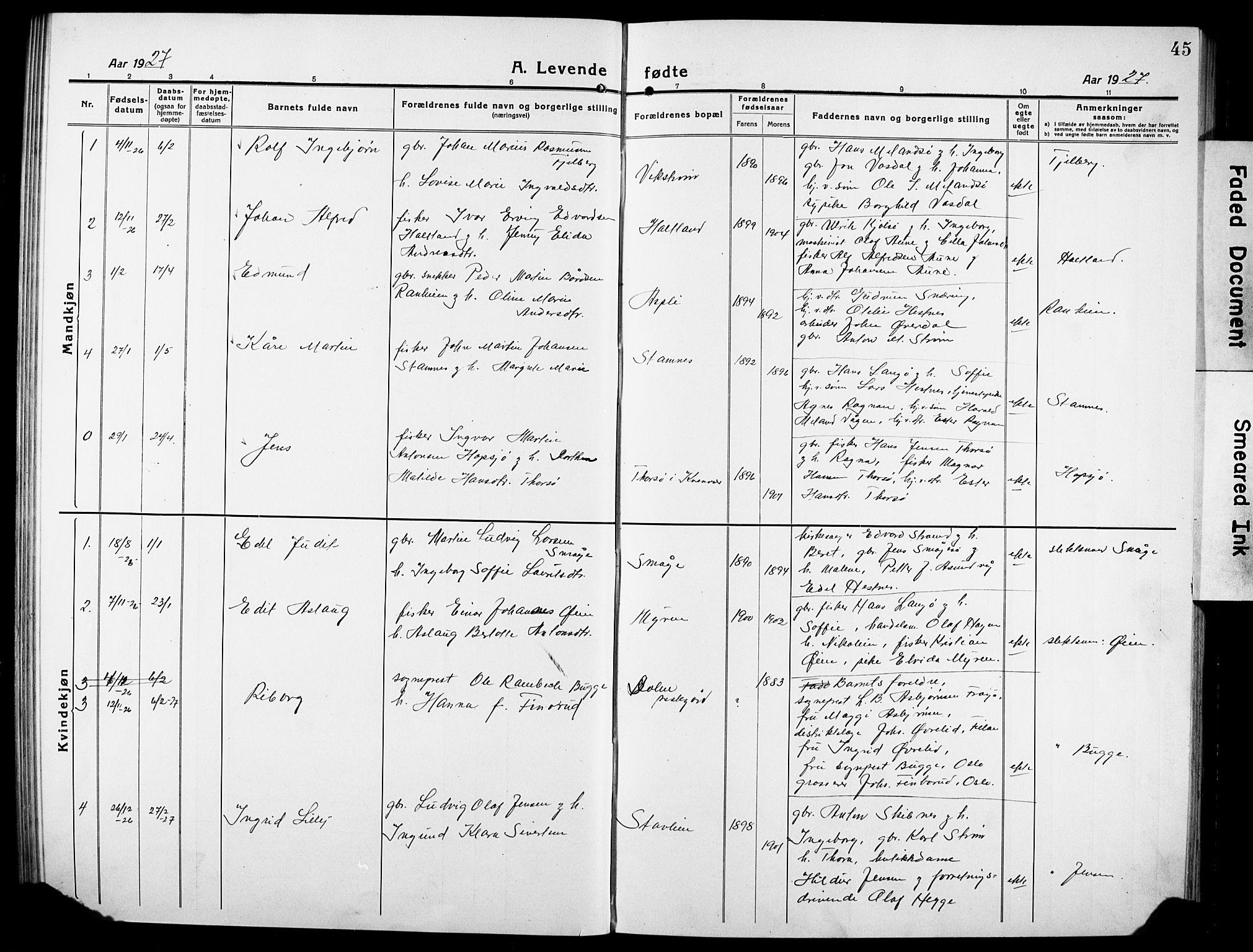 SAT, Ministerialprotokoller, klokkerbøker og fødselsregistre - Sør-Trøndelag, 634/L0543: Klokkerbok nr. 634C05, 1917-1928, s. 45