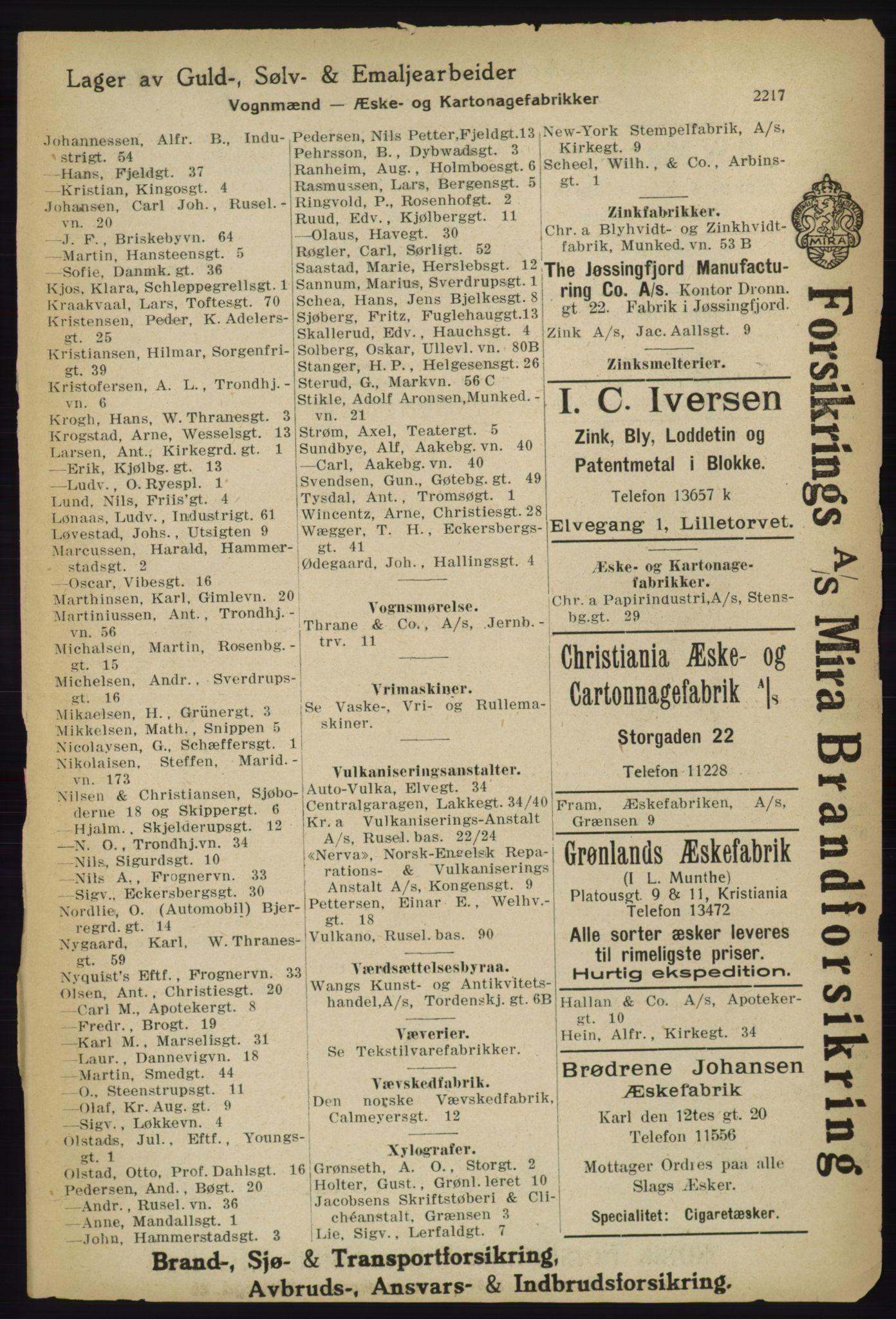 RA, Kristiania adressebok (publikasjon)*, 1918, s. 2217