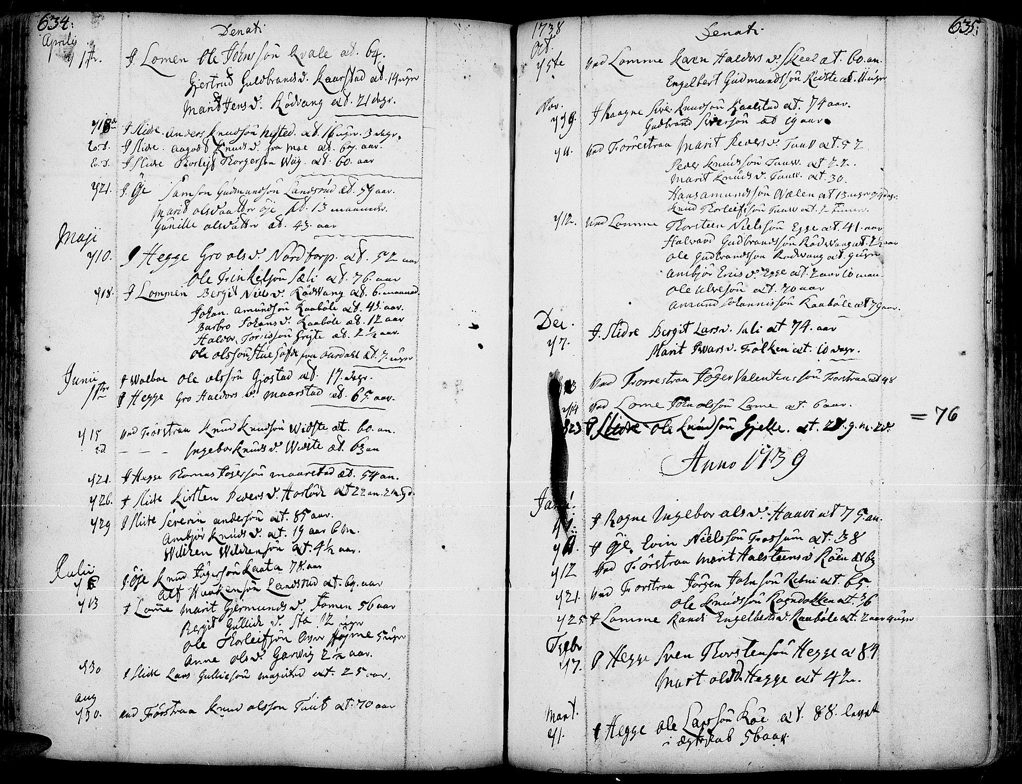 SAH, Slidre prestekontor, Ministerialbok nr. 1, 1724-1814, s. 634-635