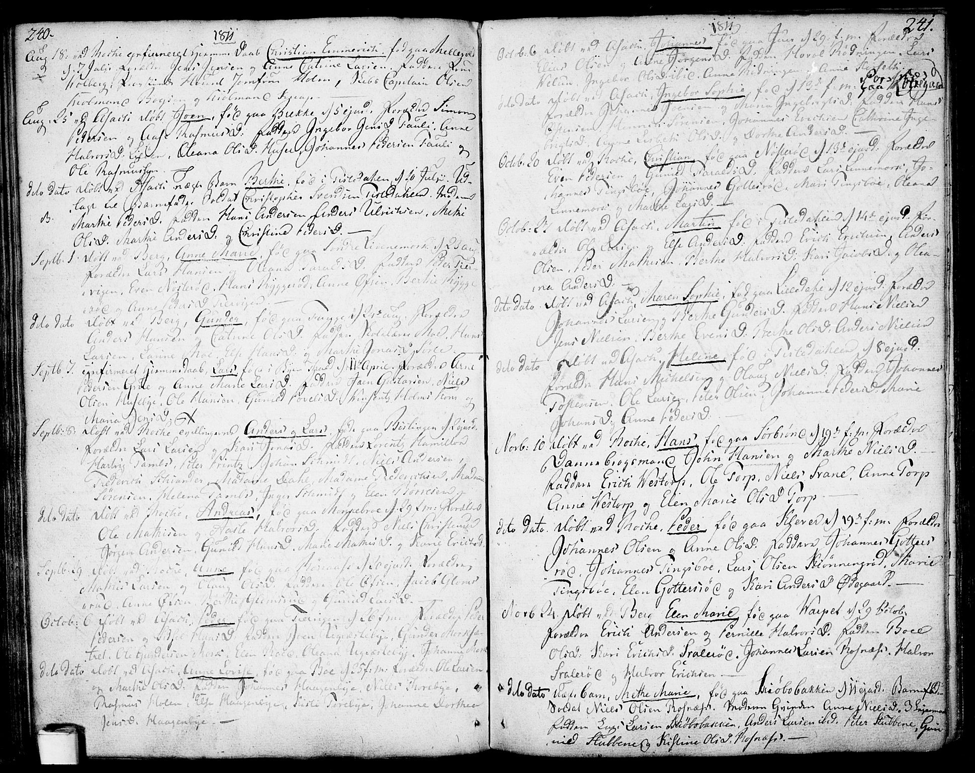 SAO, Berg prestekontor Kirkebøker, F/Fa/L0001: Ministerialbok nr. I 1, 1770-1814, s. 240-241