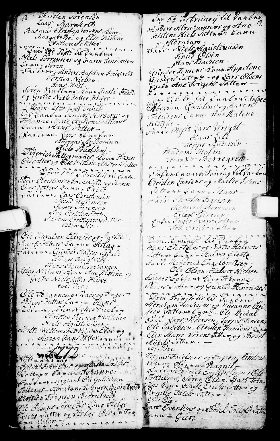 SAKO, Porsgrunn kirkebøker , G/Ga/L0001: Klokkerbok nr. I 1, 1766-1790, s. 18-19