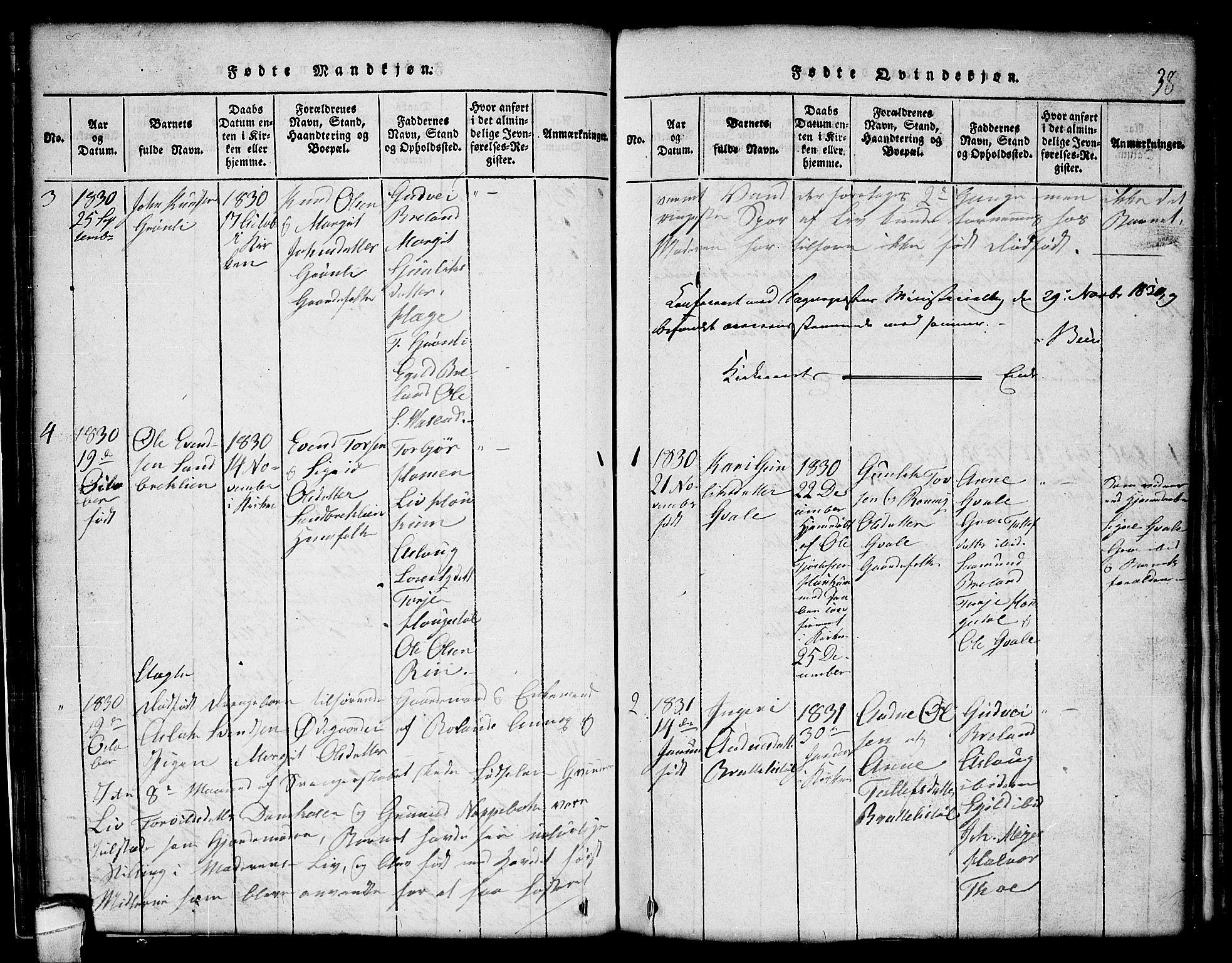 SAKO, Lårdal kirkebøker, G/Gc/L0001: Klokkerbok nr. III 1, 1815-1854, s. 38