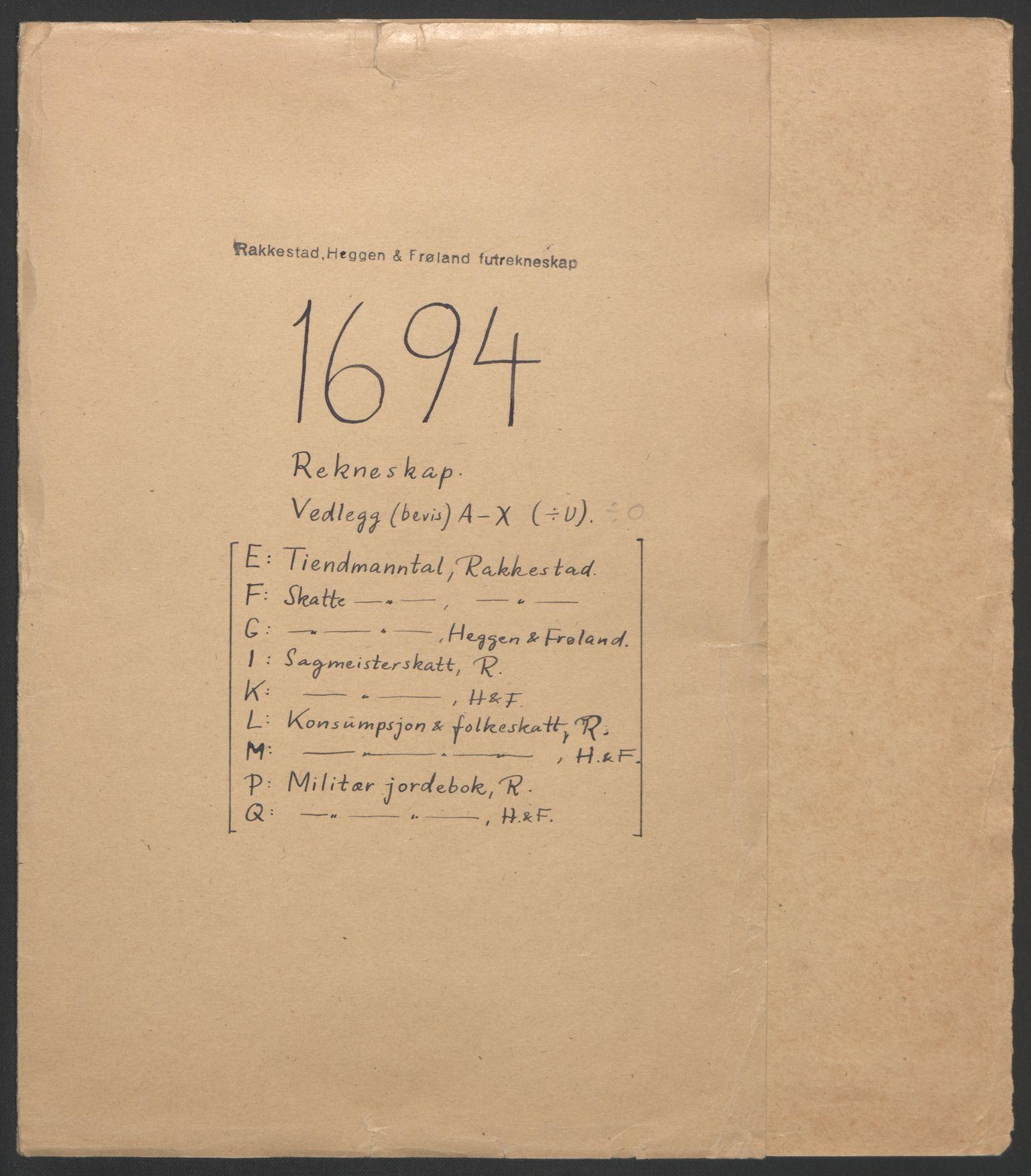 RA, Rentekammeret inntil 1814, Reviderte regnskaper, Fogderegnskap, R07/L0284: Fogderegnskap Rakkestad, Heggen og Frøland, 1694, s. 2