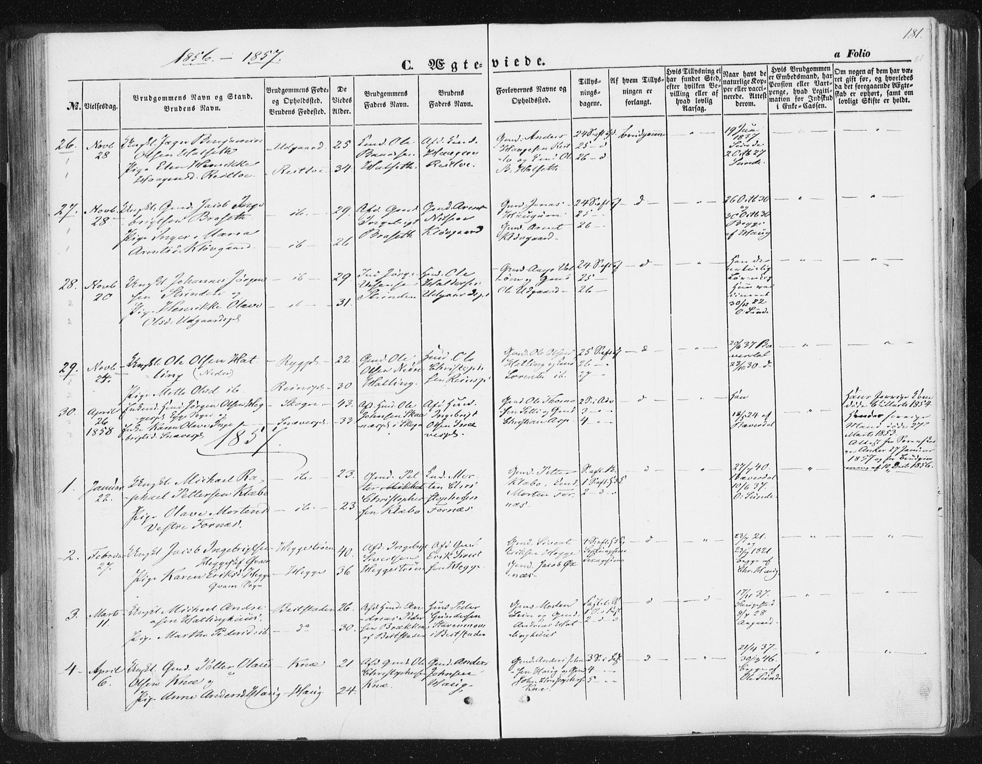 SAT, Ministerialprotokoller, klokkerbøker og fødselsregistre - Nord-Trøndelag, 746/L0446: Ministerialbok nr. 746A05, 1846-1859, s. 181