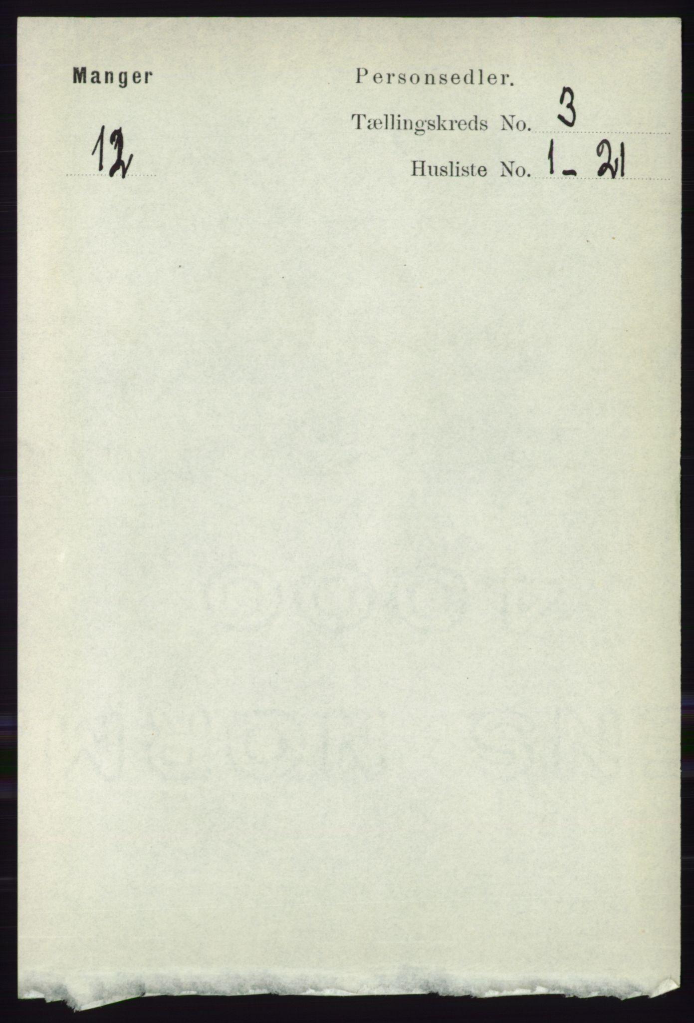 RA, Folketelling 1891 for 1261 Manger herred, 1891, s. 1407