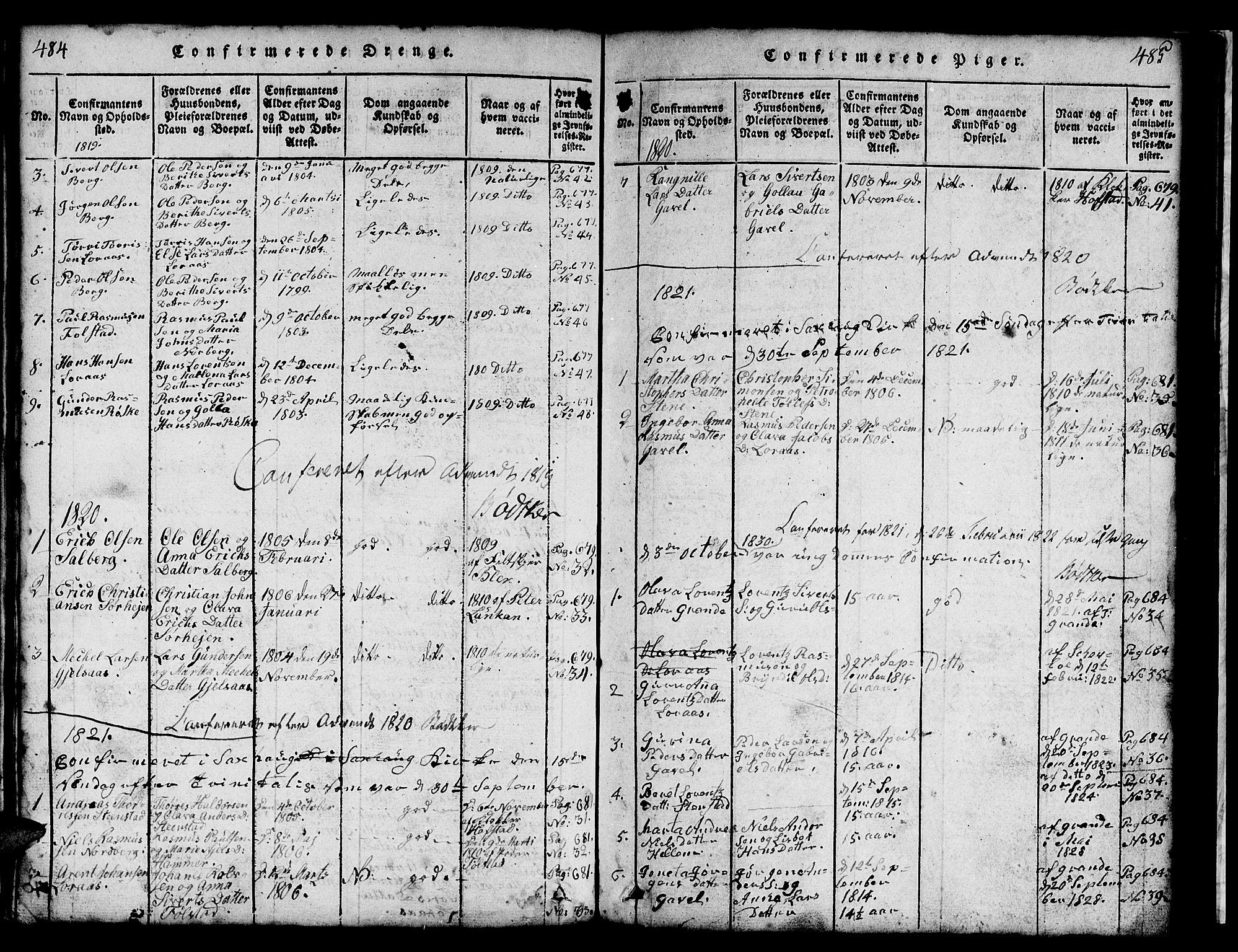 SAT, Ministerialprotokoller, klokkerbøker og fødselsregistre - Nord-Trøndelag, 731/L0310: Klokkerbok nr. 731C01, 1816-1874, s. 484-485