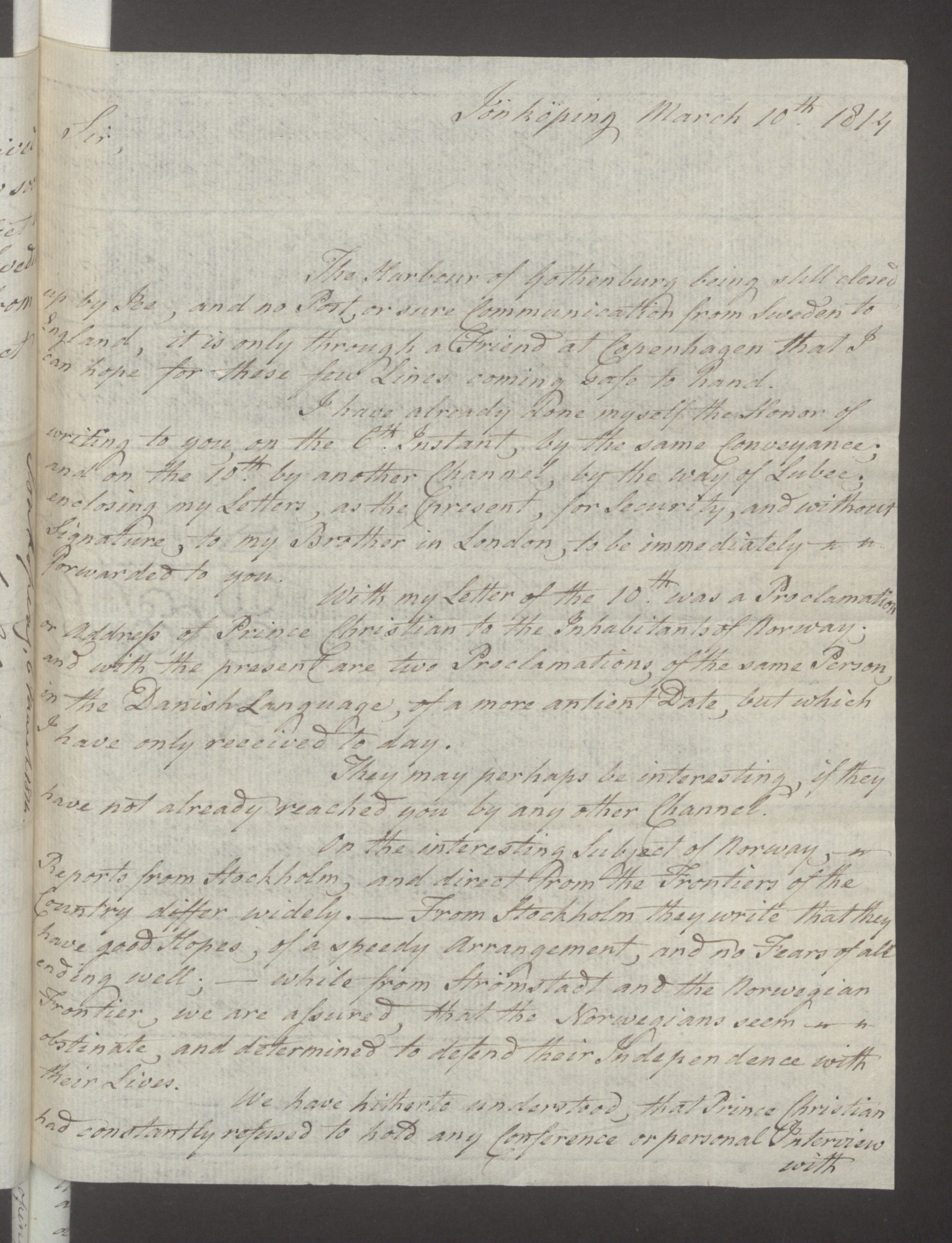 UKA, Foreign Office*, FO 38/16: Sir C. Gordon. Reports from Malmö, Jonkoping, and Helsingborg, 1814, s. 22