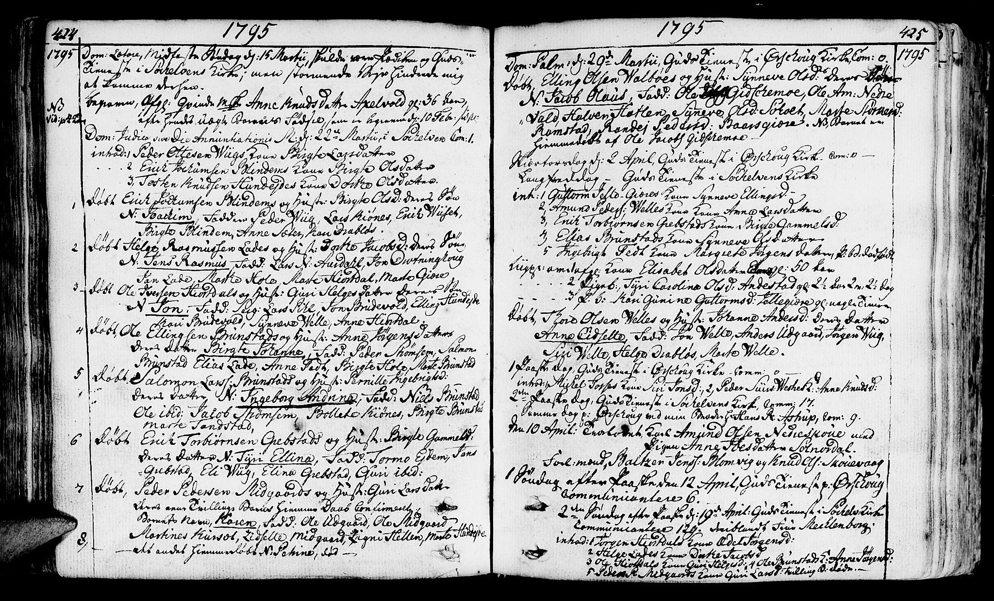 SAT, Ministerialprotokoller, klokkerbøker og fødselsregistre - Møre og Romsdal, 522/L0308: Ministerialbok nr. 522A03, 1773-1809, s. 424-425