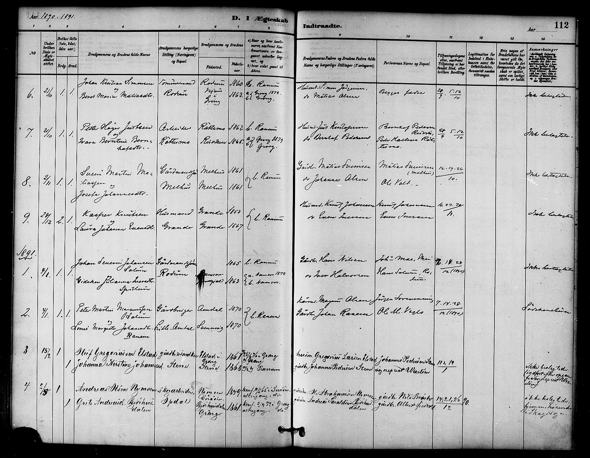 SAT, Ministerialprotokoller, klokkerbøker og fødselsregistre - Nord-Trøndelag, 764/L0555: Ministerialbok nr. 764A10, 1881-1896, s. 112