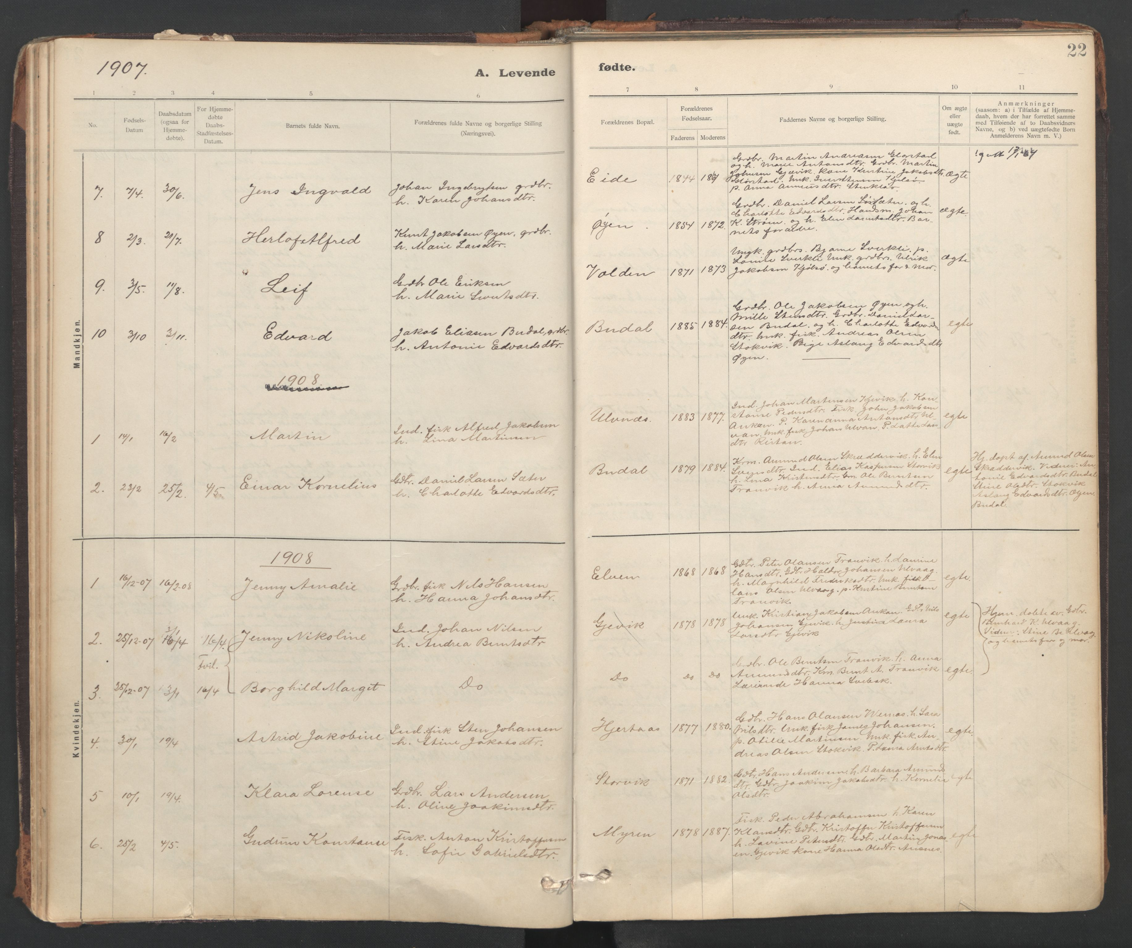 SAT, Ministerialprotokoller, klokkerbøker og fødselsregistre - Sør-Trøndelag, 637/L0559: Ministerialbok nr. 637A02, 1899-1923, s. 22