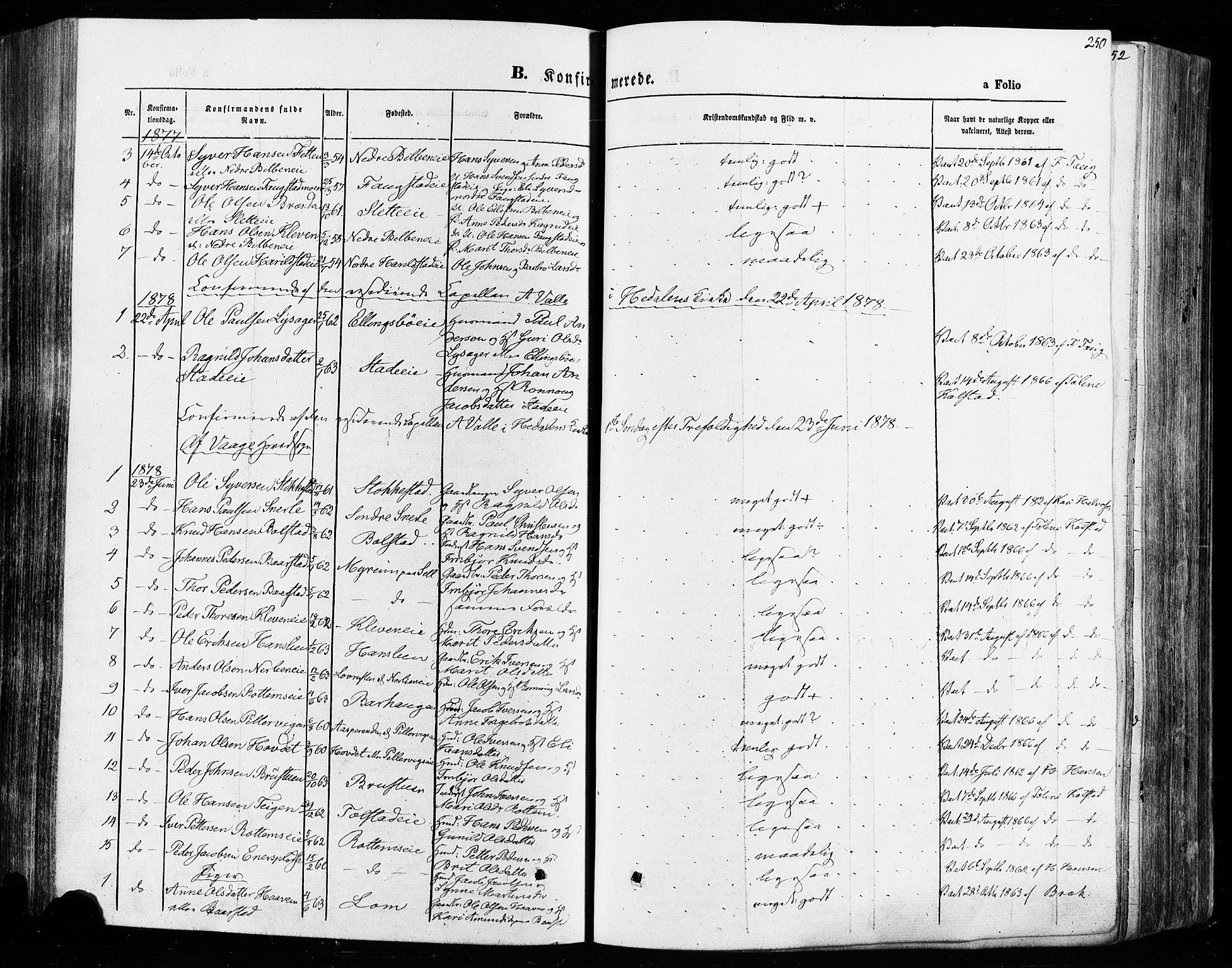 SAH, Vågå prestekontor, Ministerialbok nr. 7 /1, 1872-1886, s. 250