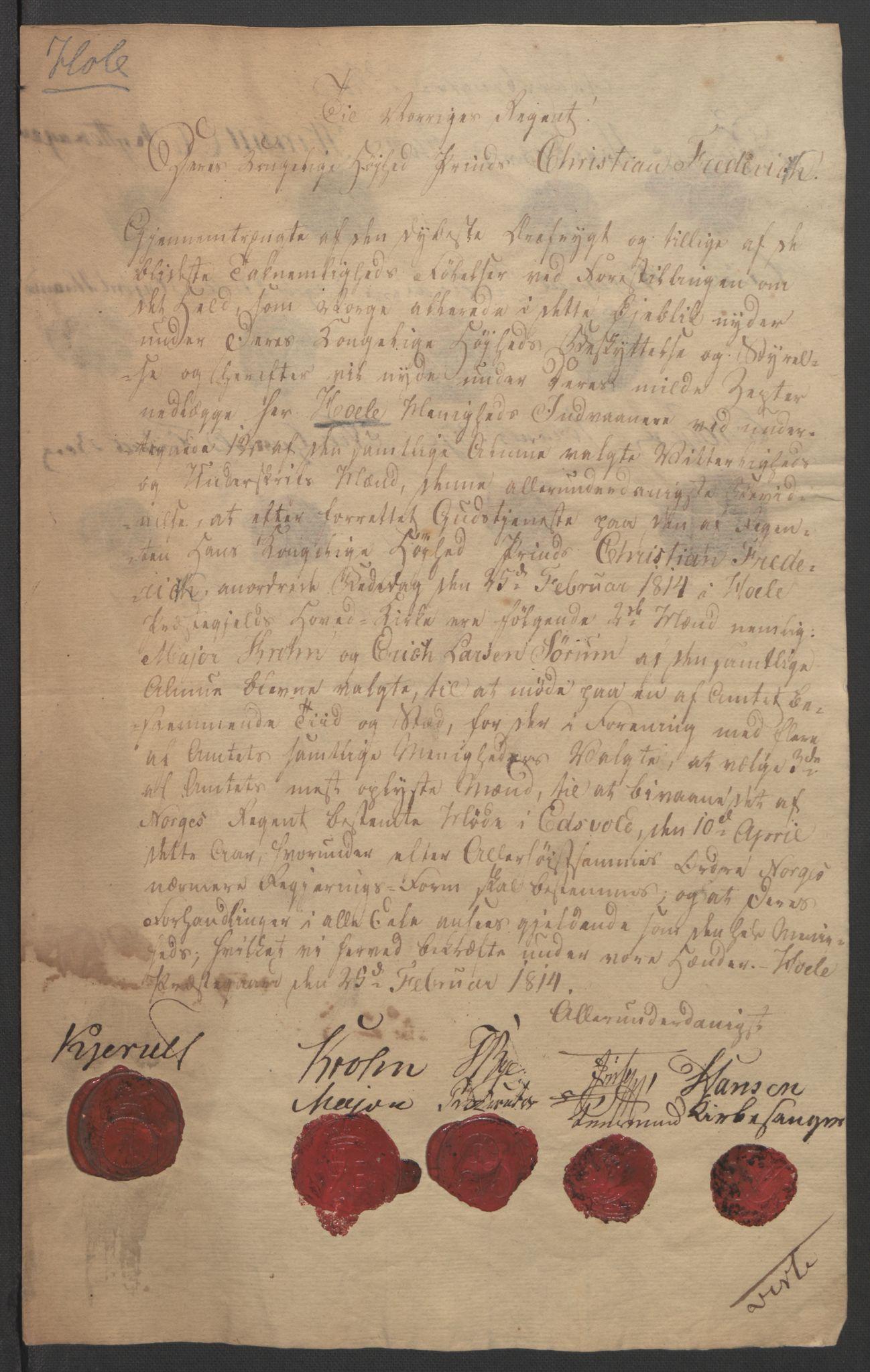 RA, Statsrådssekretariatet, D/Db/L0007: Fullmakter for Eidsvollsrepresentantene i 1814. , 1814, s. 314