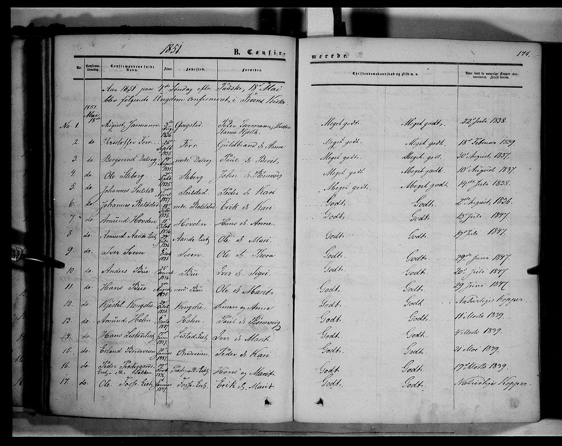 SAH, Sør-Fron prestekontor, H/Ha/Haa/L0001: Ministerialbok nr. 1, 1849-1863, s. 174