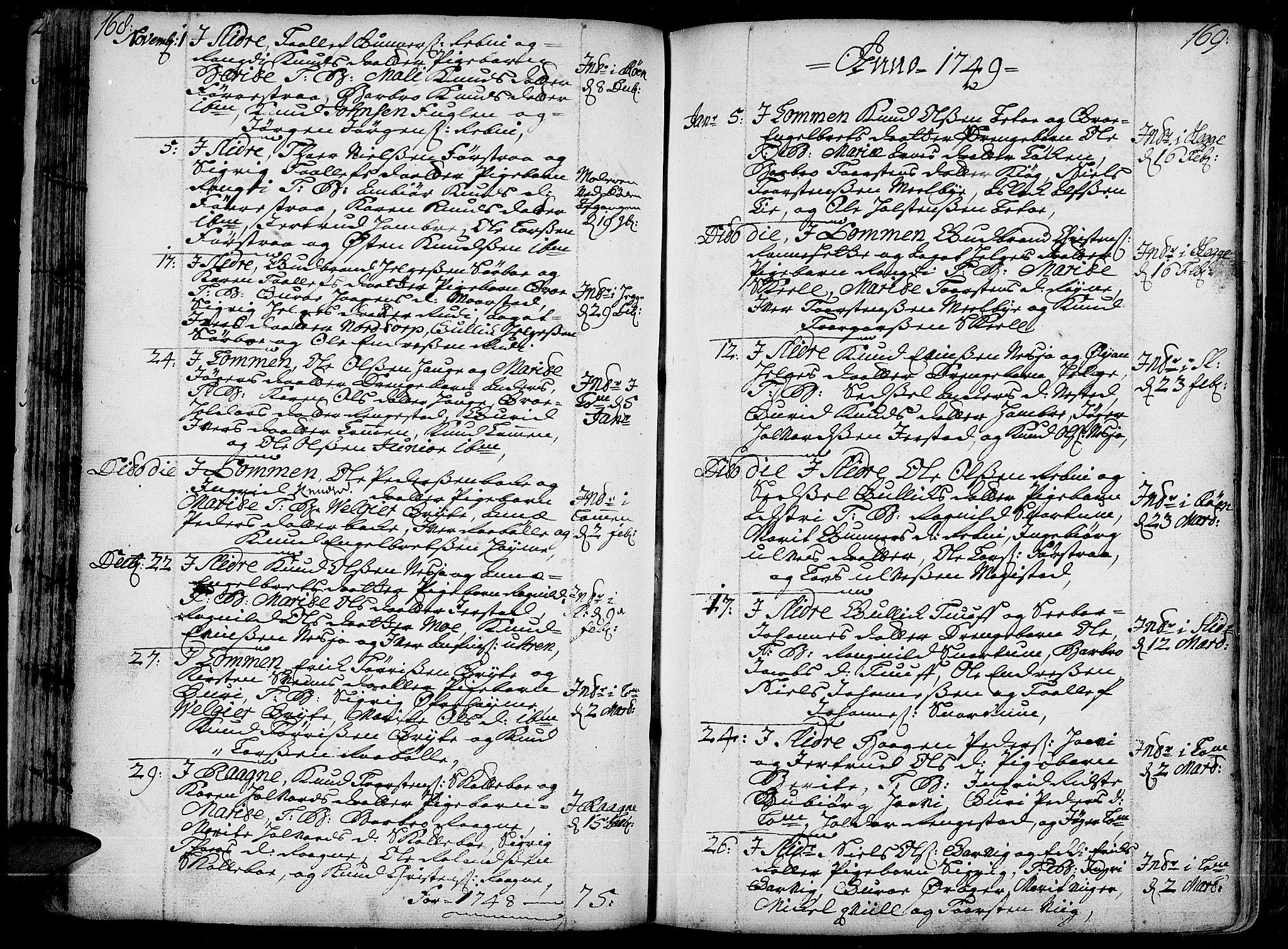 SAH, Slidre prestekontor, Ministerialbok nr. 1, 1724-1814, s. 168-169