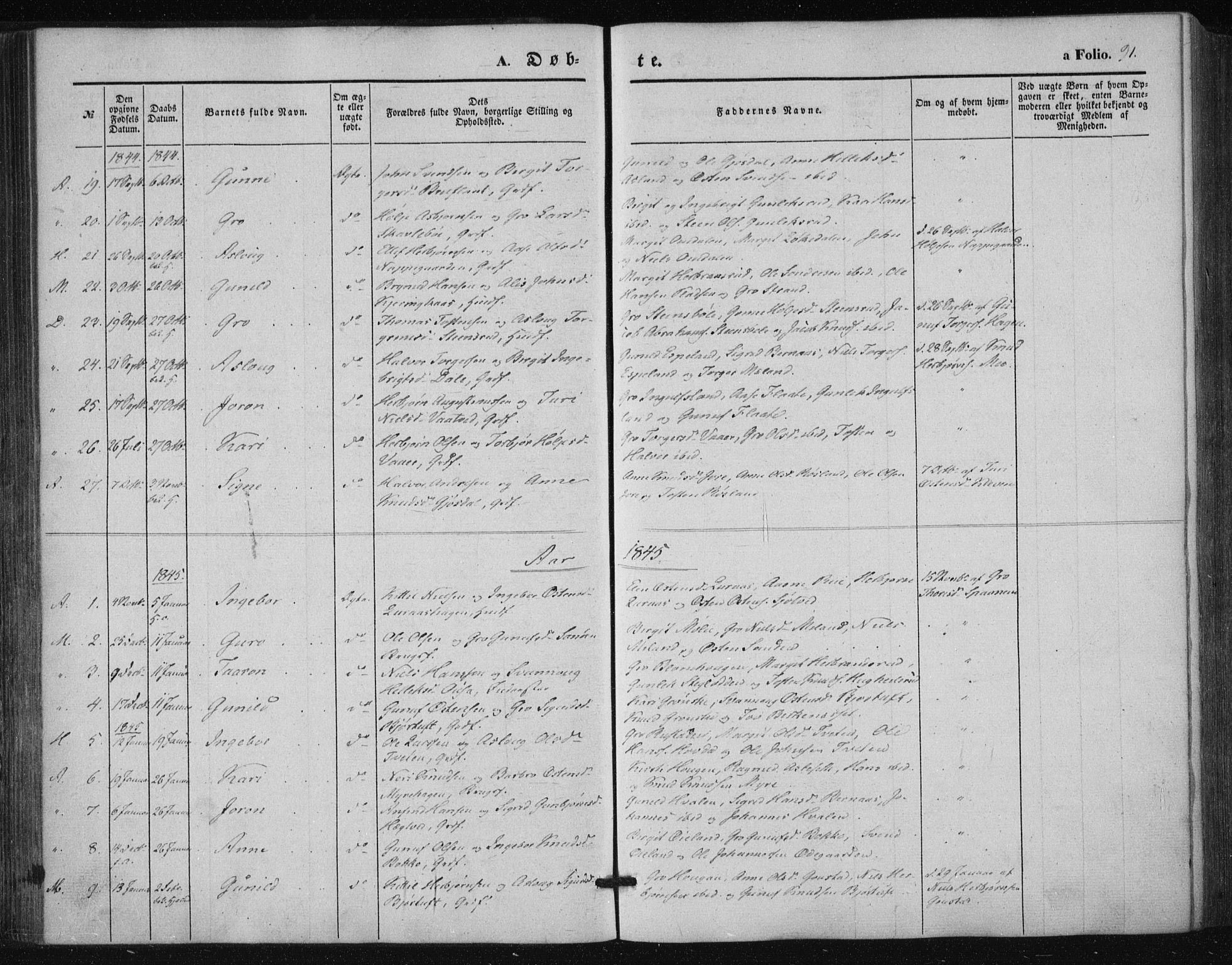 SAKO, Tinn kirkebøker, F/Fa/L0005: Ministerialbok nr. I 5, 1844-1856, s. 91