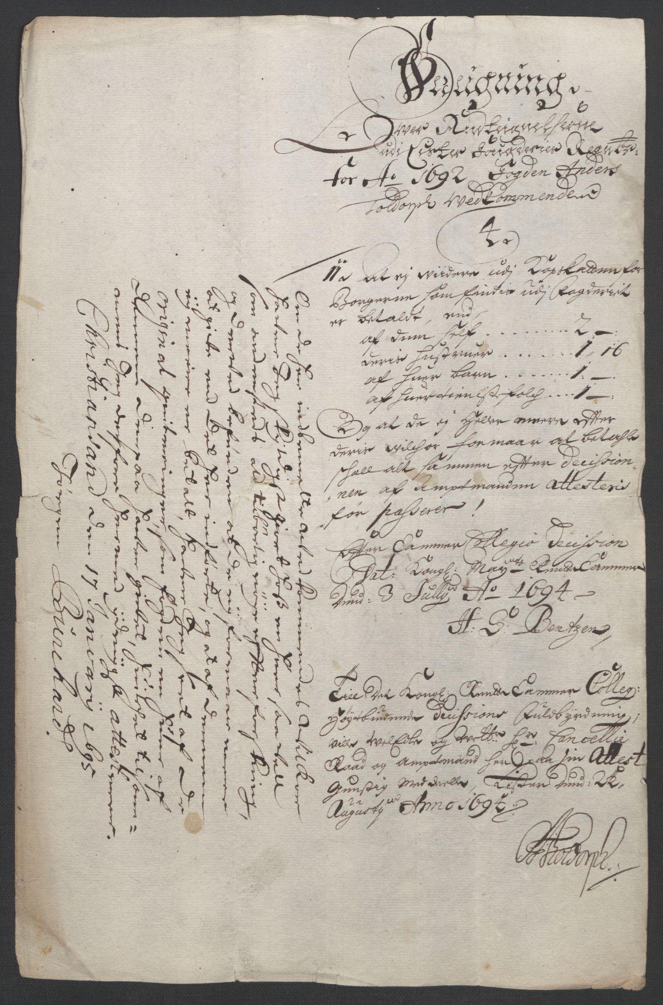 RA, Rentekammeret inntil 1814, Reviderte regnskaper, Fogderegnskap, R43/L2545: Fogderegnskap Lista og Mandal, 1694-1695, s. 35