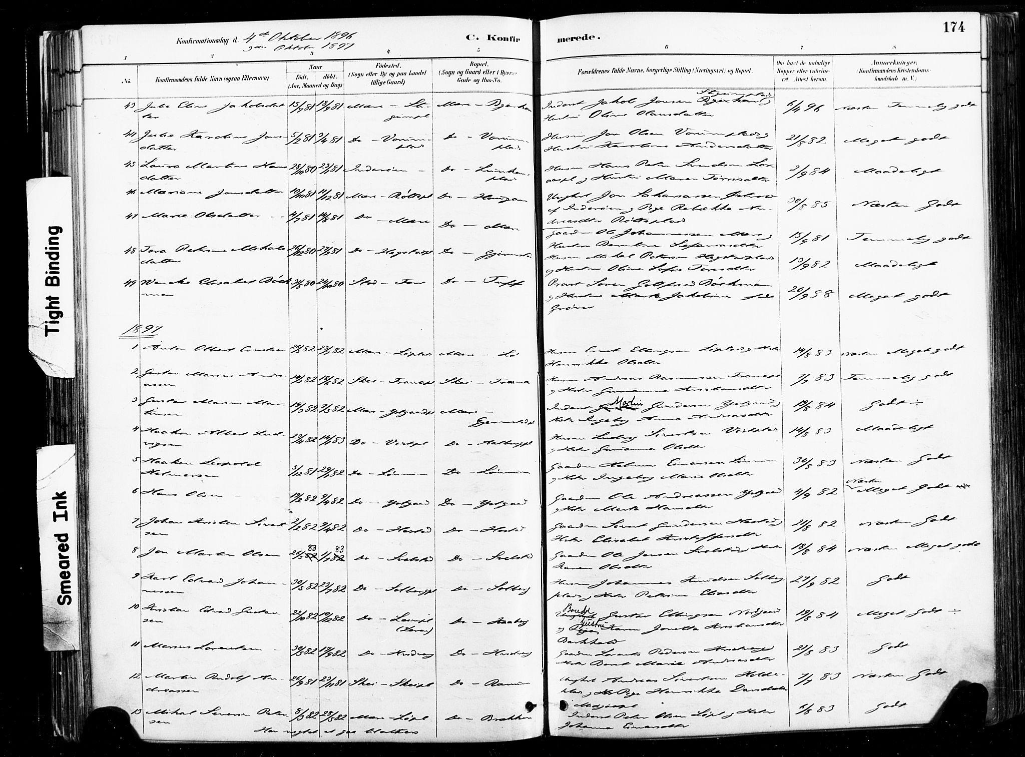 SAT, Ministerialprotokoller, klokkerbøker og fødselsregistre - Nord-Trøndelag, 735/L0351: Ministerialbok nr. 735A10, 1884-1908, s. 174