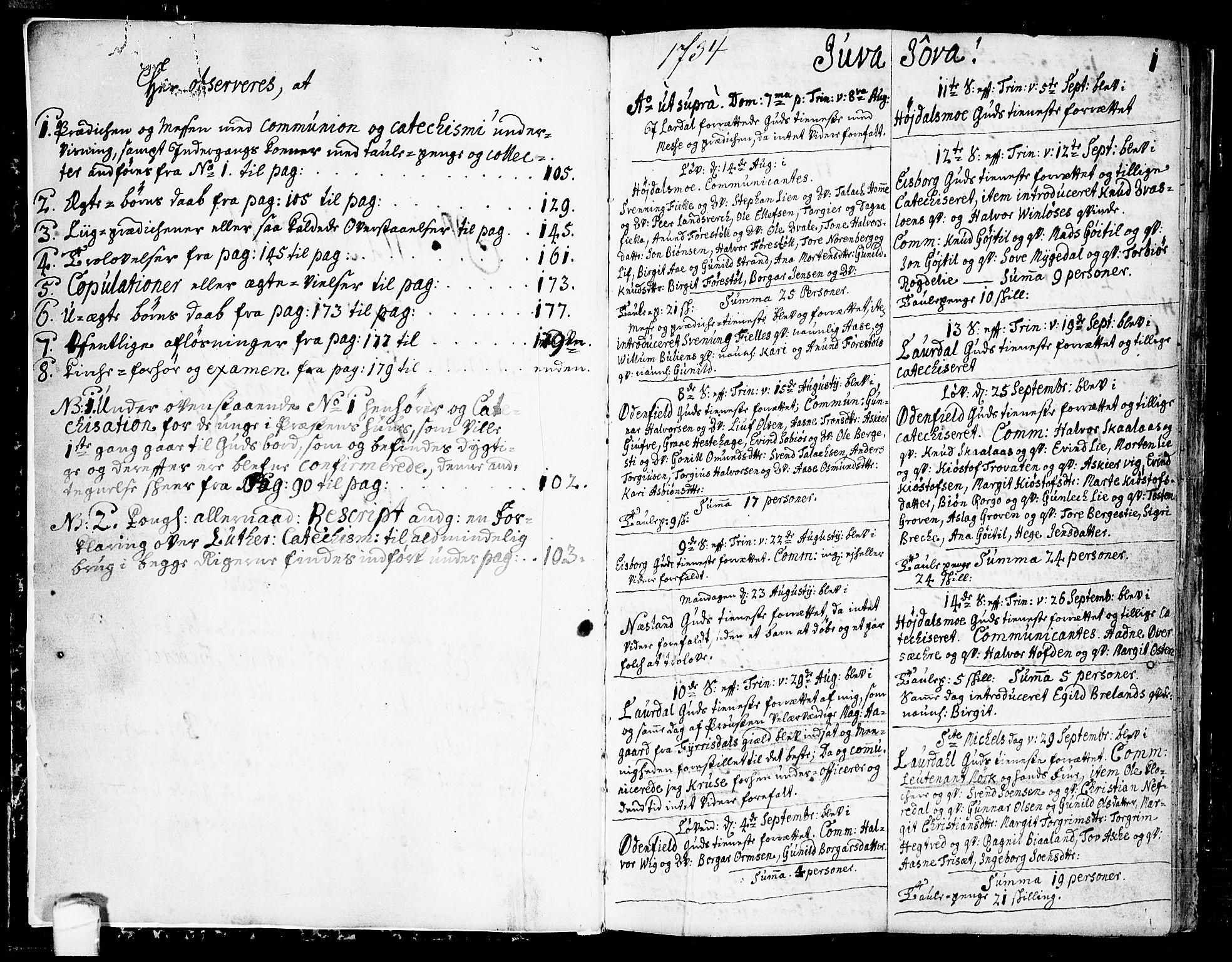 SAKO, Lårdal kirkebøker, F/Fa/L0002: Ministerialbok nr. I 2, 1734-1754, s. 0-1