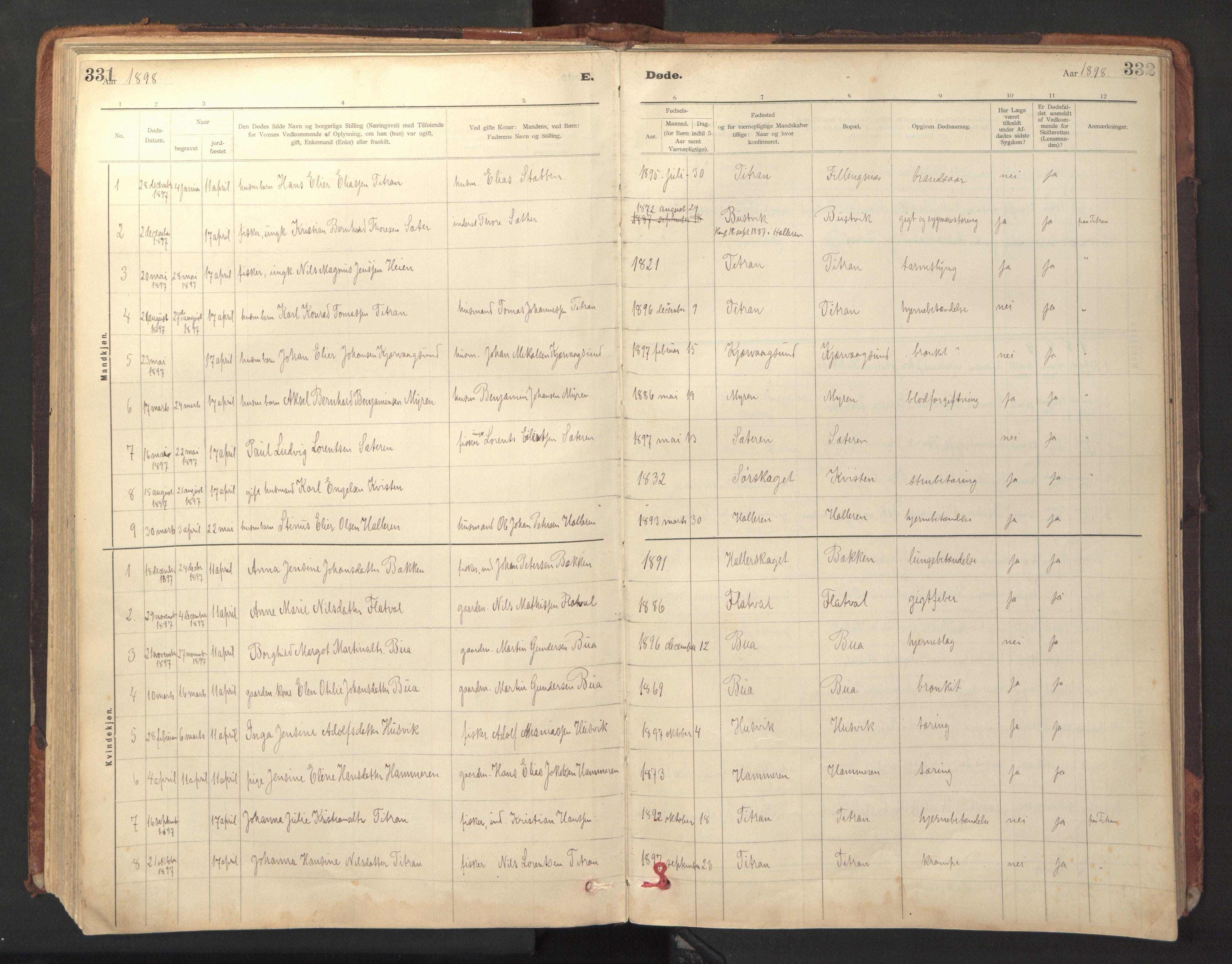 SAT, Ministerialprotokoller, klokkerbøker og fødselsregistre - Sør-Trøndelag, 641/L0596: Ministerialbok nr. 641A02, 1898-1915, s. 331-332