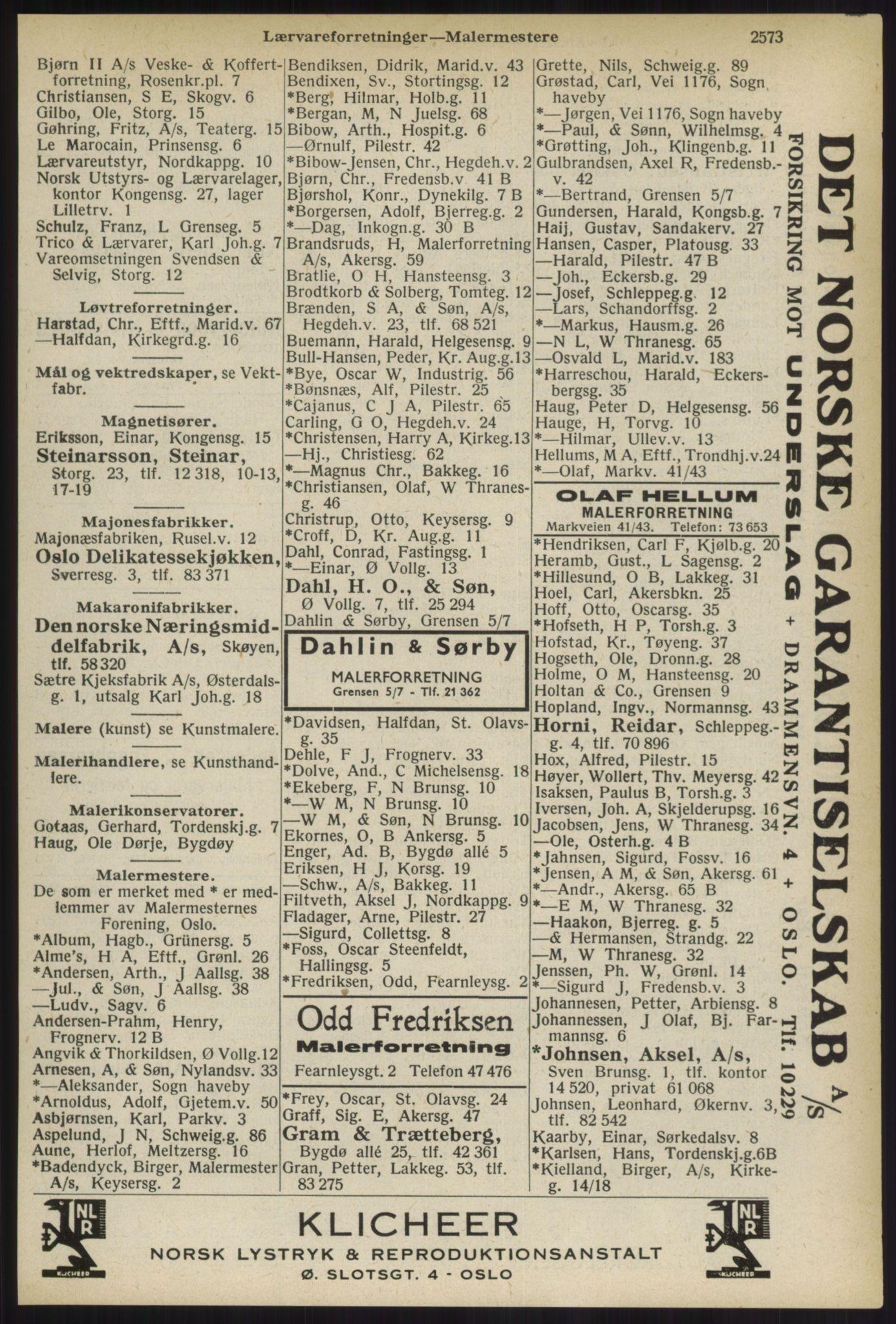 RA, Oslo adressebok (publikasjon)*, 1936, s. 2573