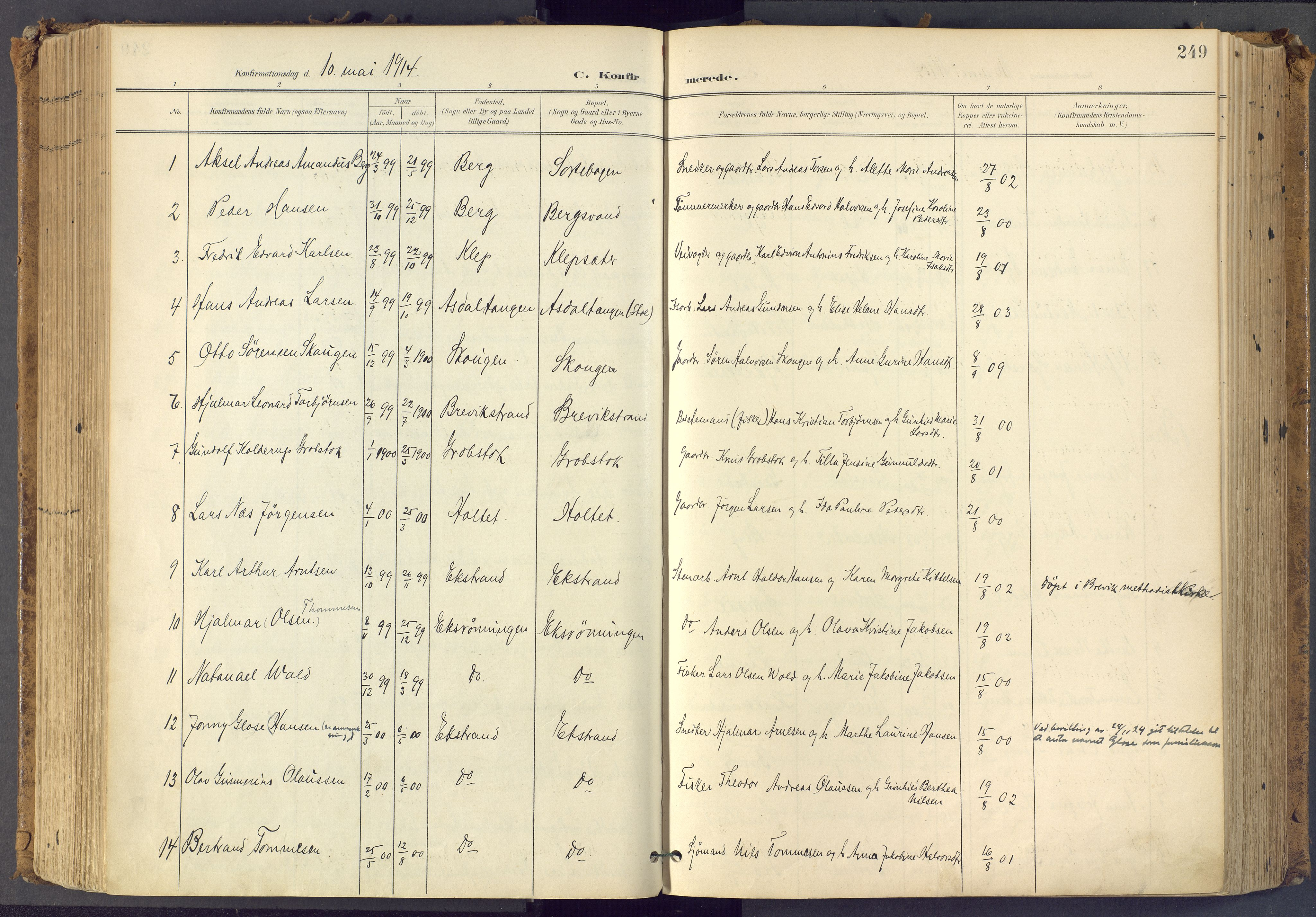 SAKO, Bamble kirkebøker, F/Fa/L0009: Ministerialbok nr. I 9, 1901-1917, s. 249