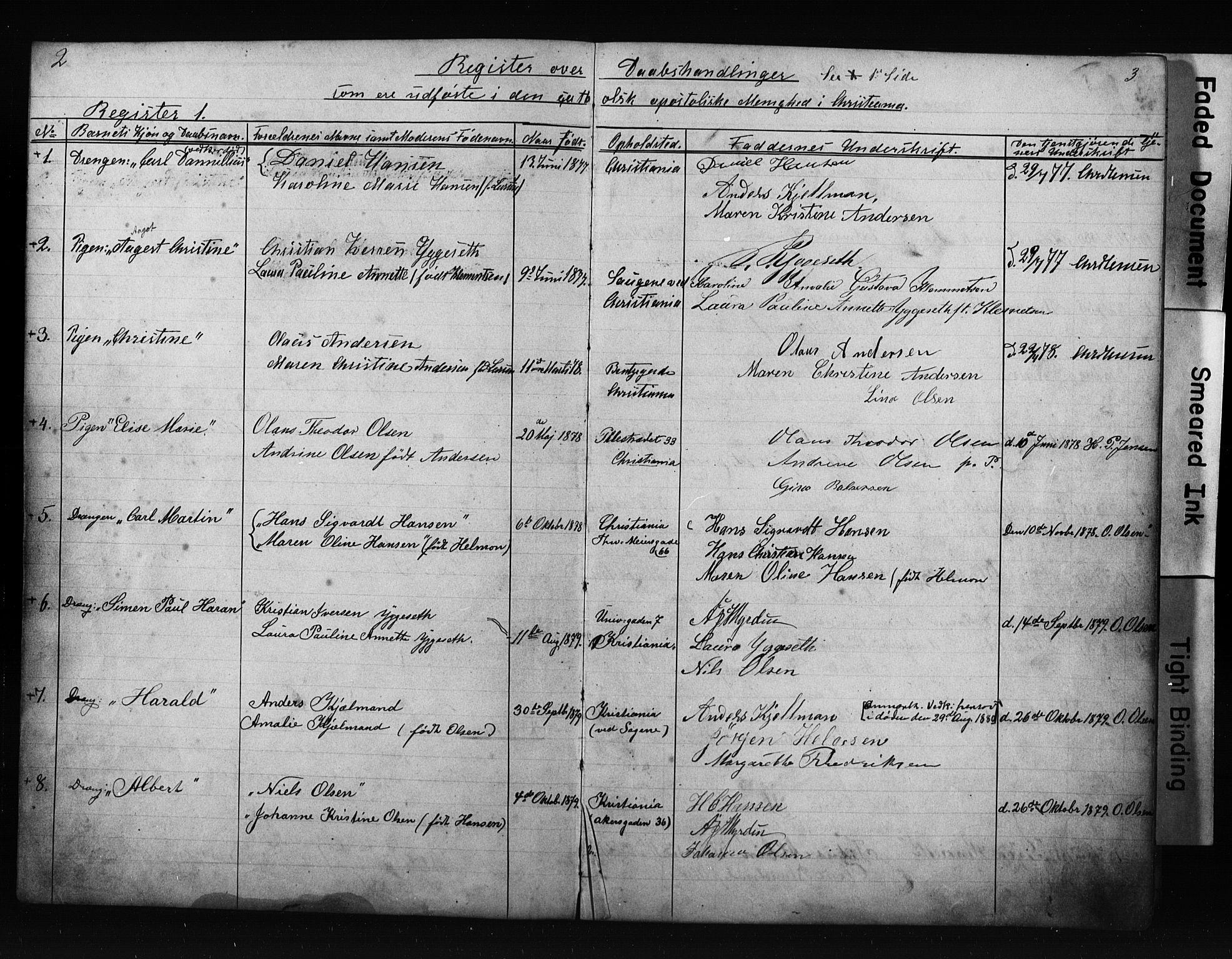 SAO, Den katolsk apostoliske menighet i Oslo , F/Fb/L0001: Dissenterprotokoll nr. 1, 1877-1894, s. 2-3