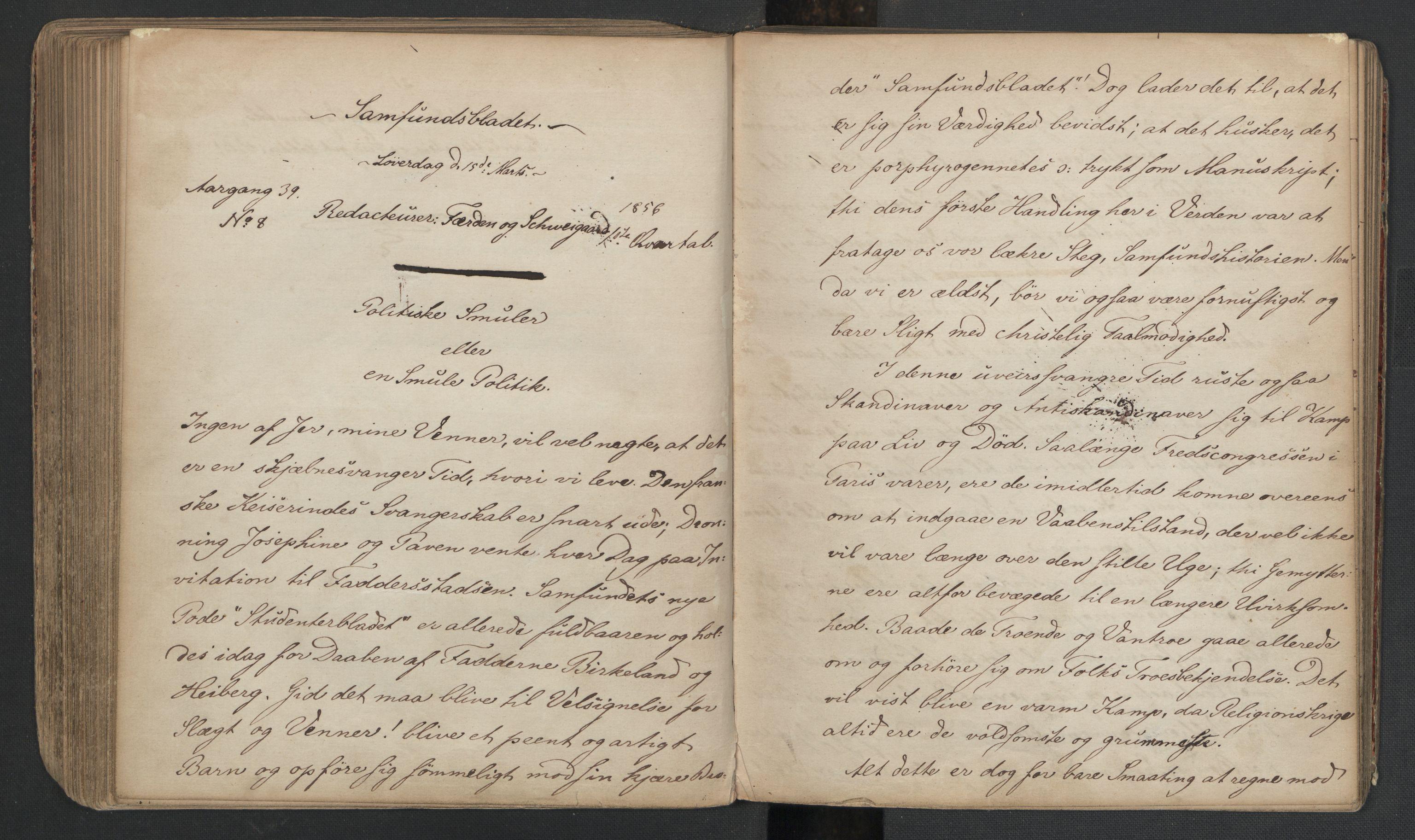 RA, Det Norske Studentersamfund, X/Xa/L0005, 1855-1856, s. 168
