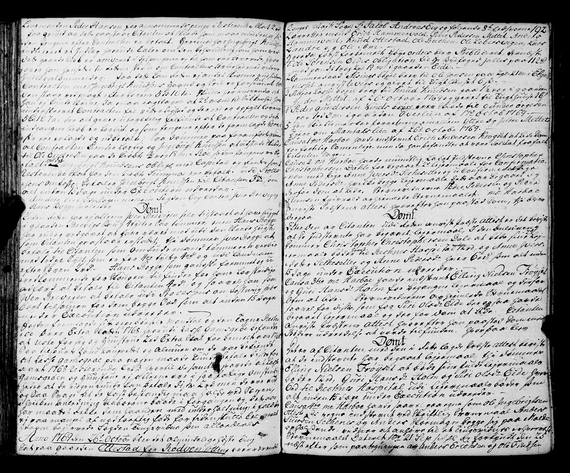 SAT, Romsdal sorenskriveri, 1/1A/L0015: Tingbok, 1765-1775, s. 191b-192a