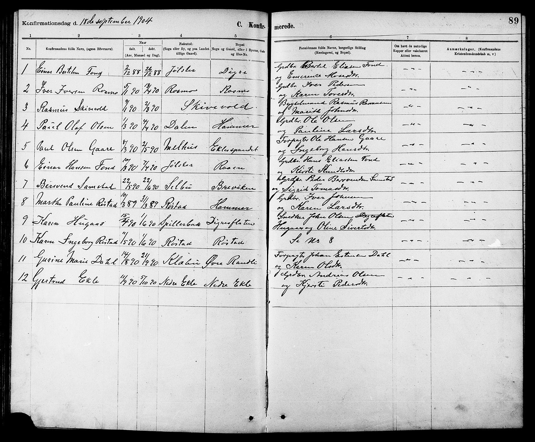 SAT, Ministerialprotokoller, klokkerbøker og fødselsregistre - Sør-Trøndelag, 608/L0341: Klokkerbok nr. 608C07, 1890-1912, s. 89