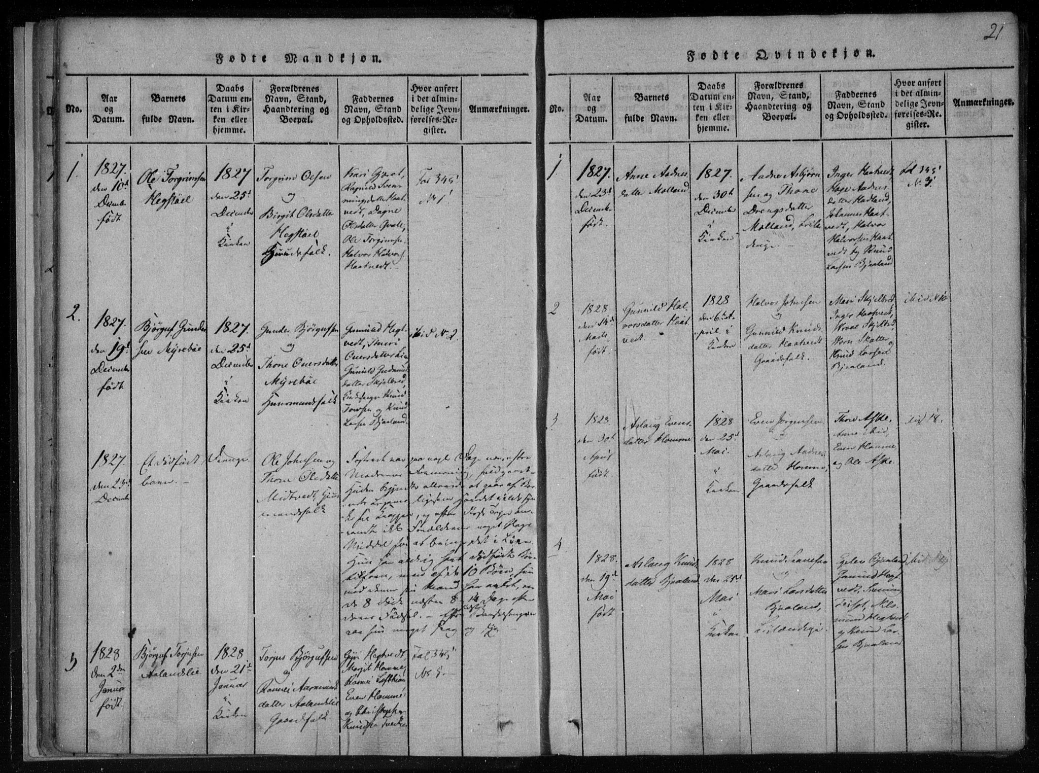 SAKO, Lårdal kirkebøker, F/Fa/L0005: Ministerialbok nr. I 5, 1815-1860, s. 21