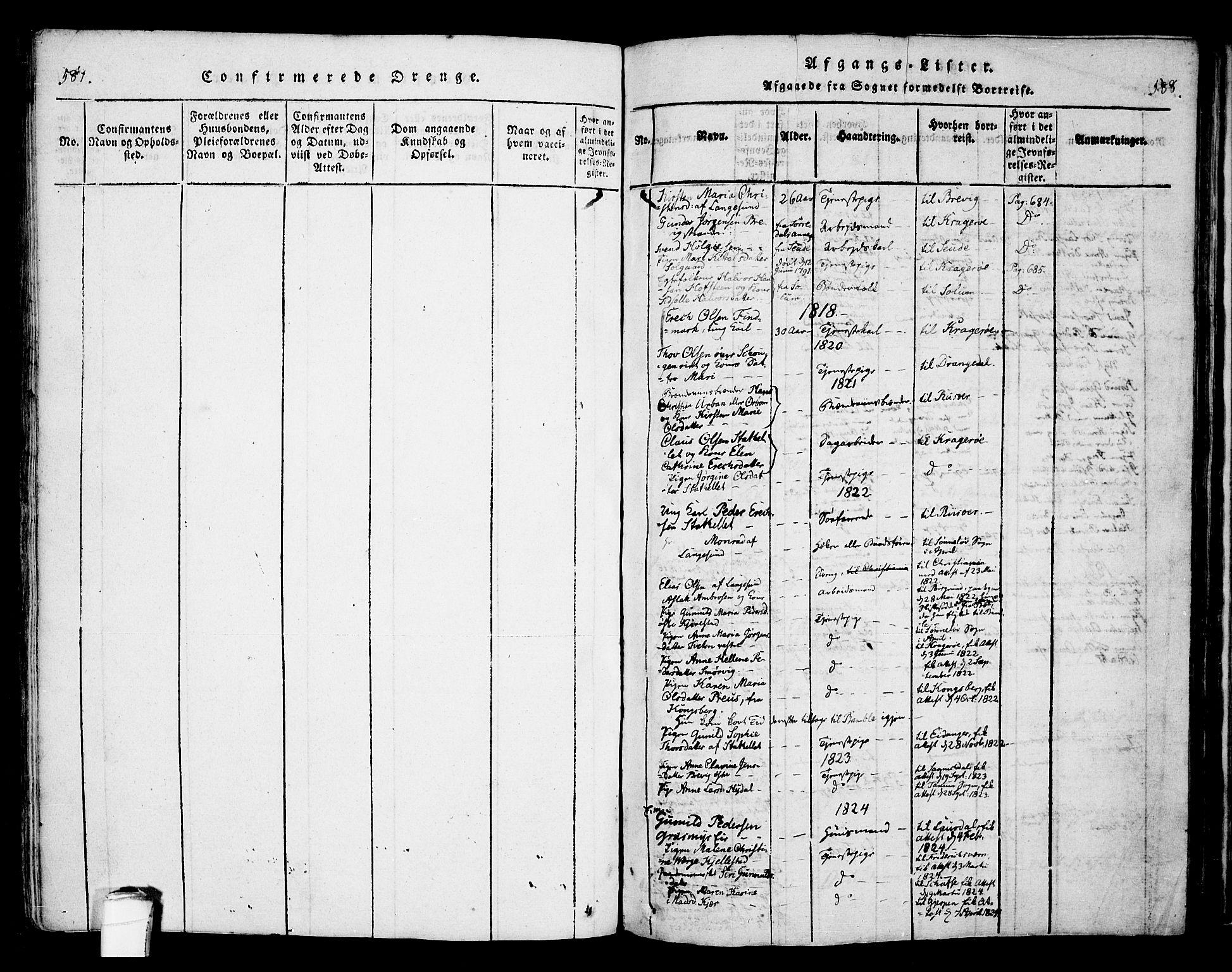SAKO, Bamble kirkebøker, F/Fa/L0003: Ministerialbok nr. I 3 /1, 1814-1834, s. 587-588