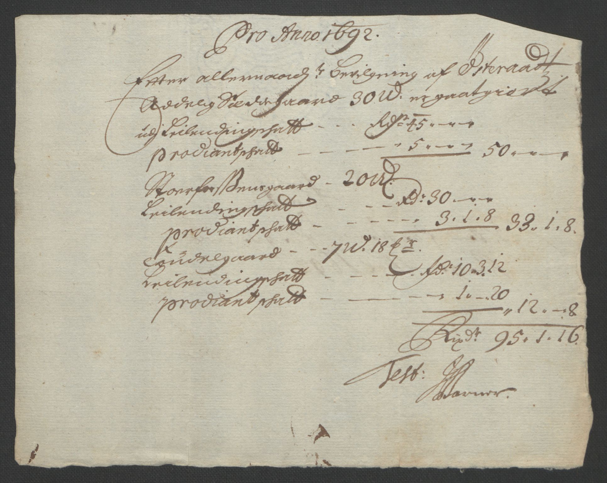 RA, Rentekammeret inntil 1814, Reviderte regnskaper, Fogderegnskap, R57/L3849: Fogderegnskap Fosen, 1692-1693, s. 254
