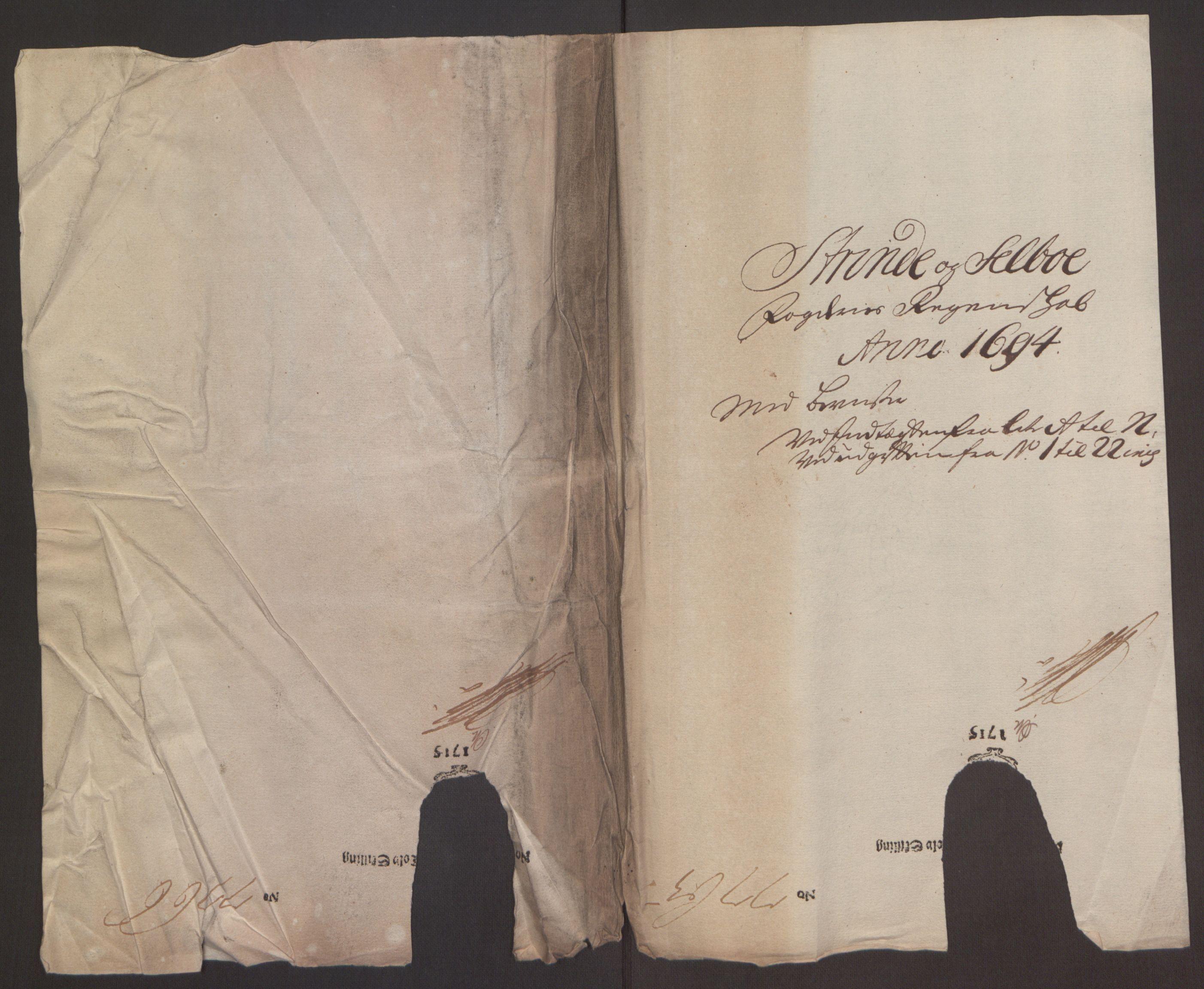 RA, Rentekammeret inntil 1814, Reviderte regnskaper, Fogderegnskap, R61/L4104: Fogderegnskap Strinda og Selbu, 1693-1694, s. 283