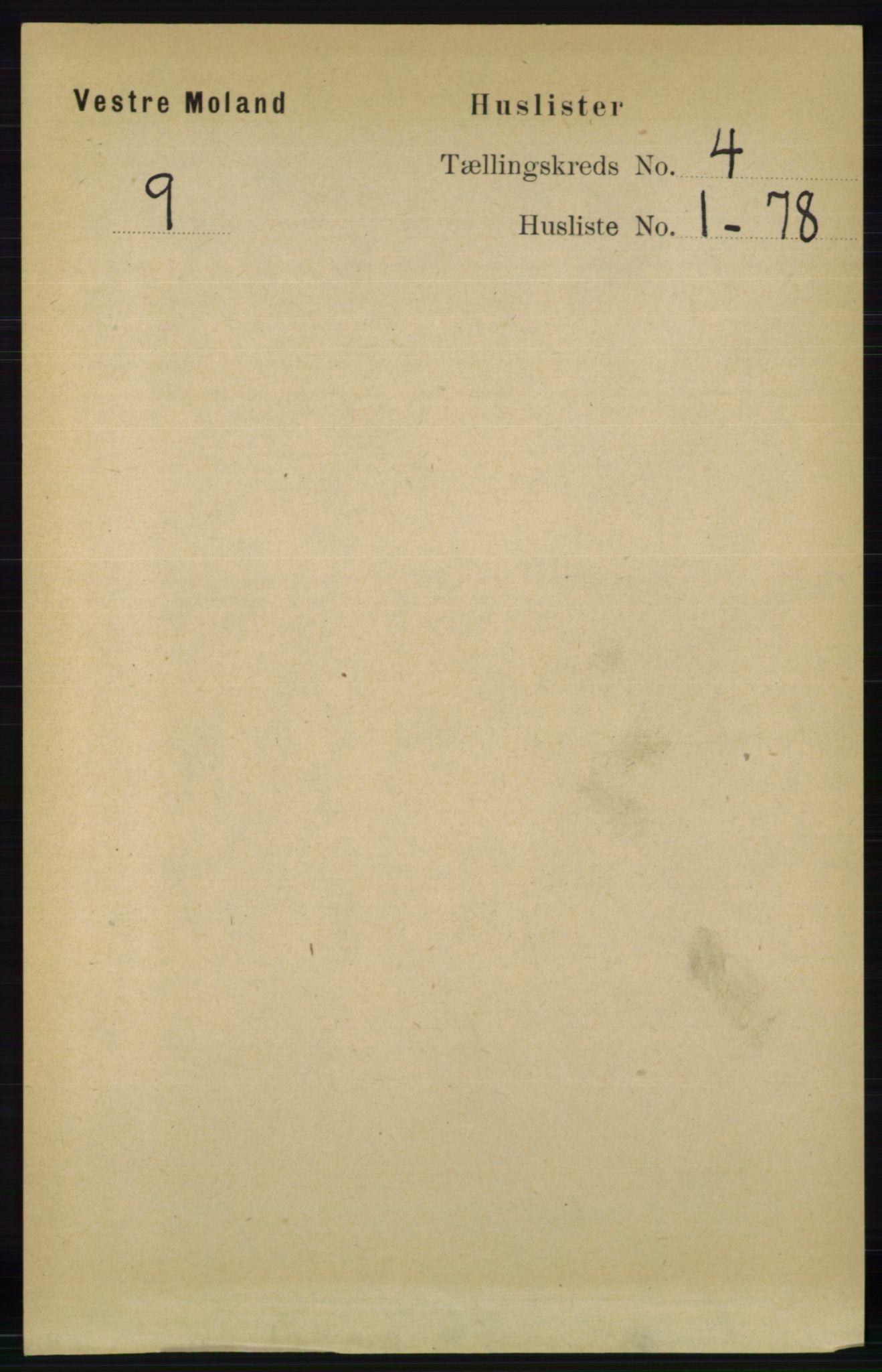 RA, Folketelling 1891 for 0926 Vestre Moland herred, 1891, s. 1141