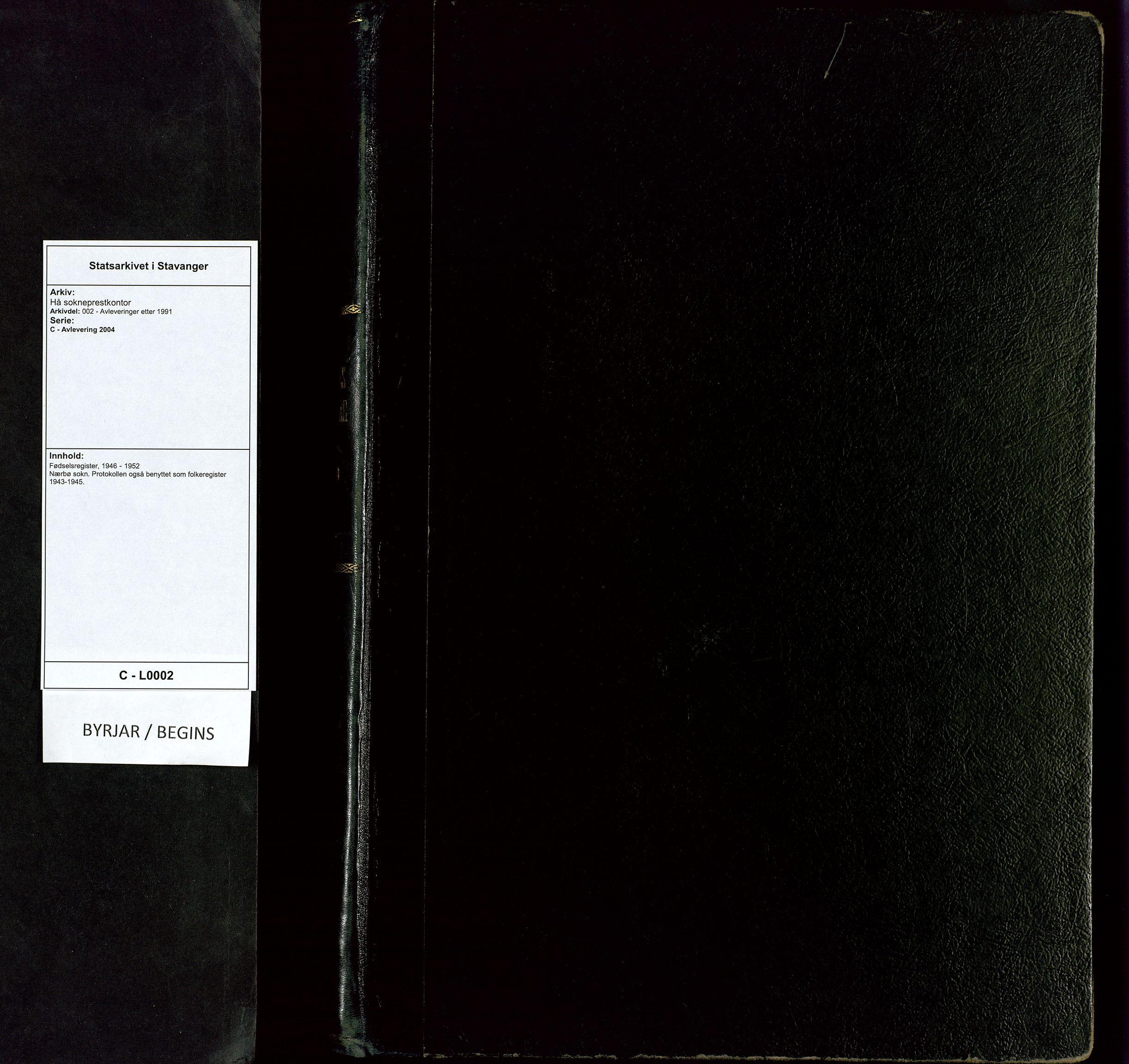 SAST, Hå sokneprestkontor, C/L0002: Fødselsregister nr. 2, 1946-1952