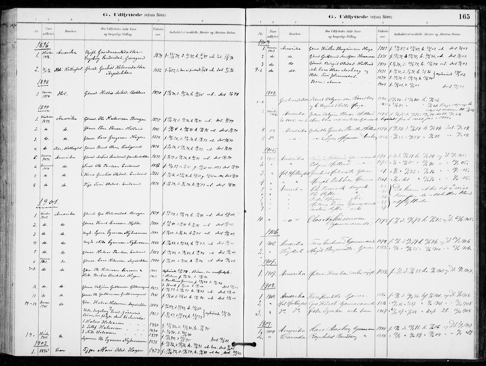 SAKO, Nore kirkebøker, G/Gc/L0003: Klokkerbok nr. III 3, 1881-1941, s. 165