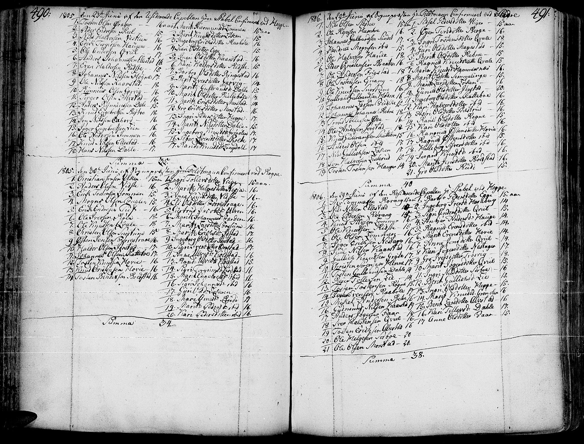 SAH, Slidre prestekontor, Ministerialbok nr. 1, 1724-1814, s. 490-491