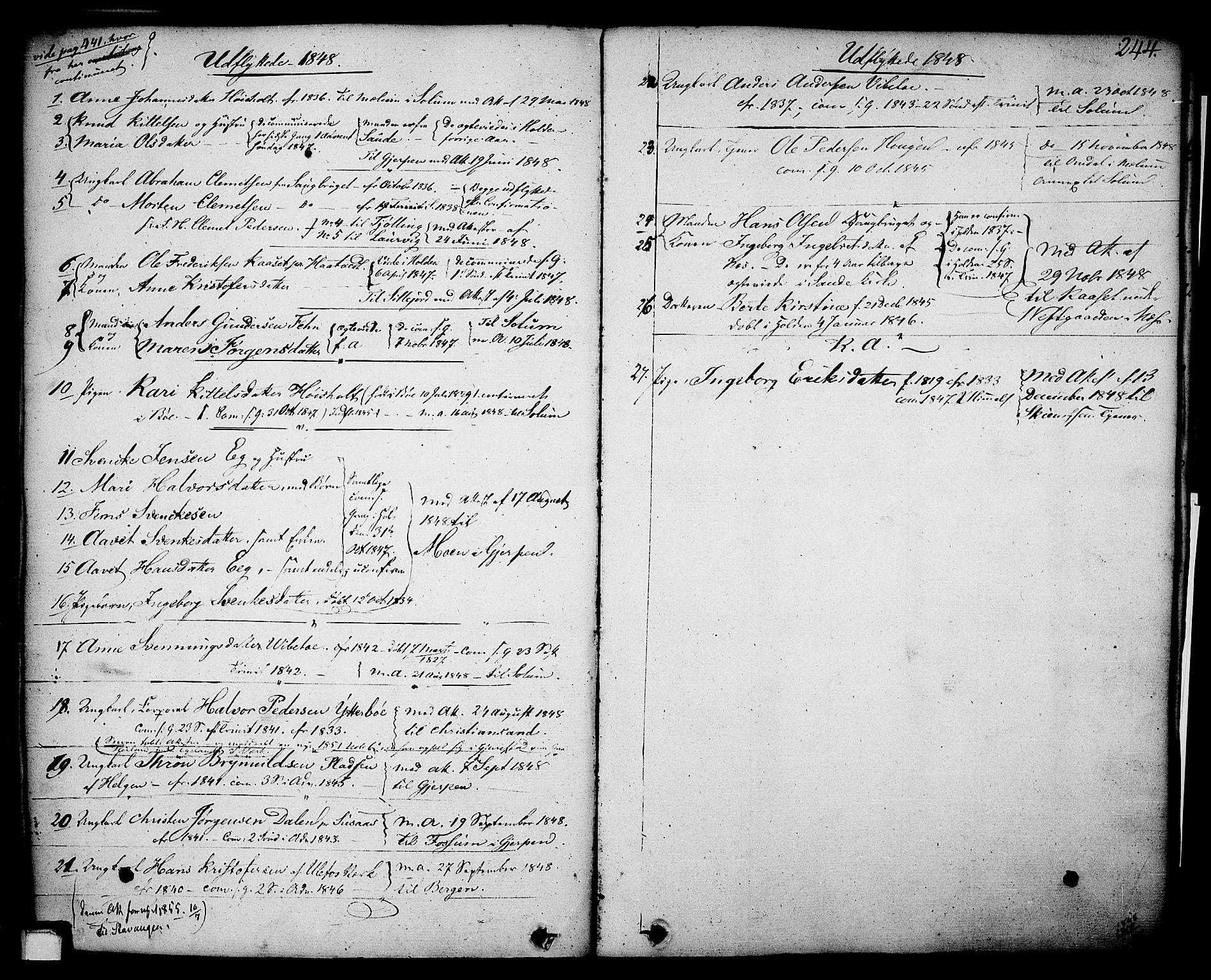 SAKO, Holla kirkebøker, F/Fa/L0004: Ministerialbok nr. 4, 1830-1848, s. 244