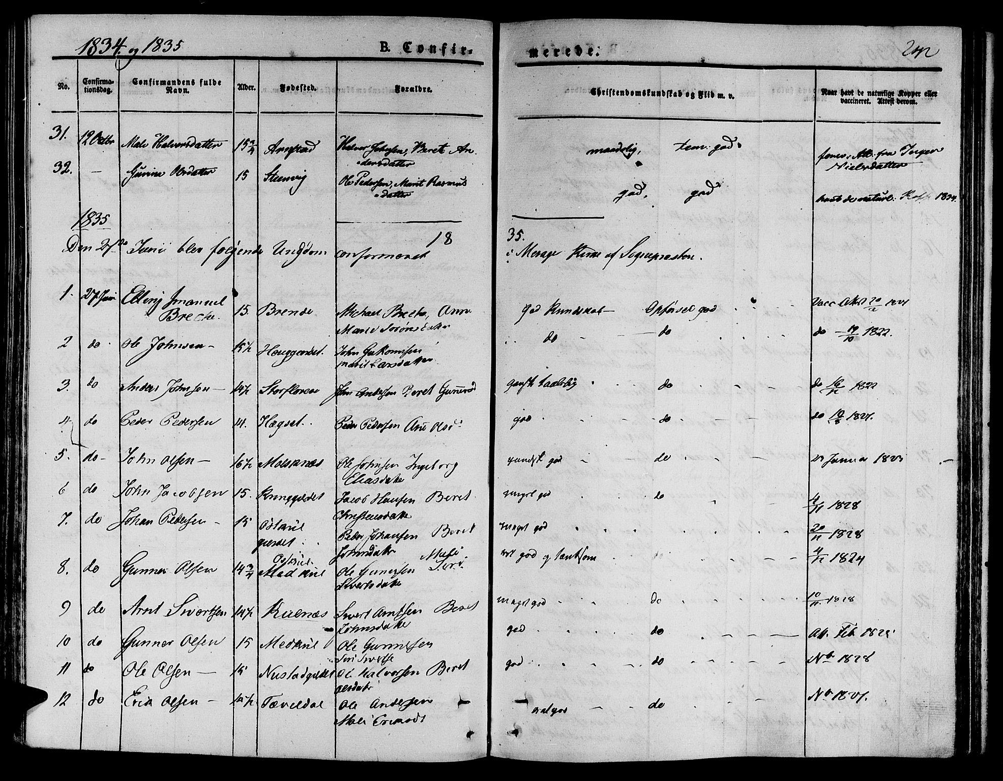 SAT, Ministerialprotokoller, klokkerbøker og fødselsregistre - Nord-Trøndelag, 709/L0071: Ministerialbok nr. 709A11, 1833-1844, s. 242