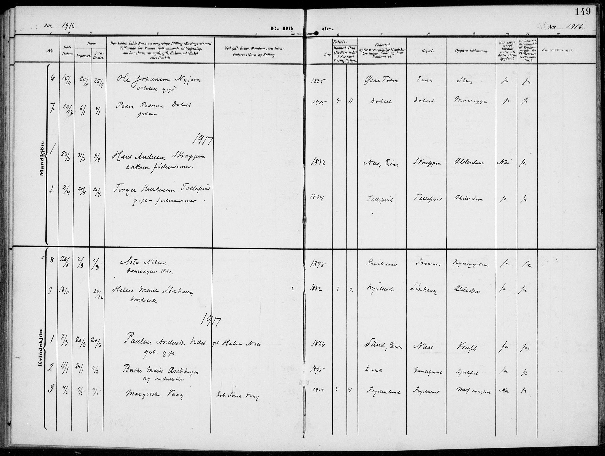 SAH, Kolbu prestekontor, Ministerialbok nr. 1, 1907-1923, s. 149