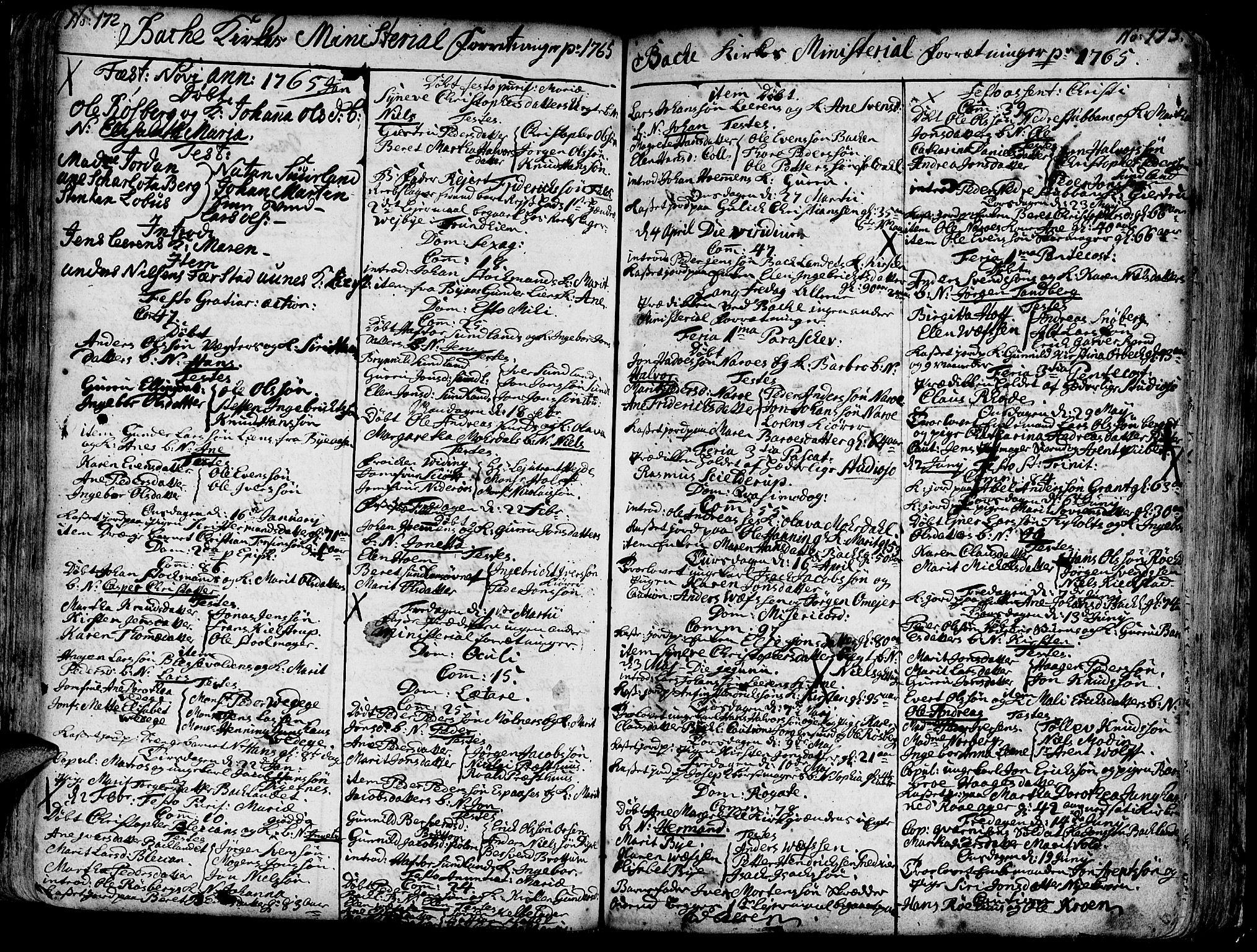 SAT, Ministerialprotokoller, klokkerbøker og fødselsregistre - Sør-Trøndelag, 606/L0276: Ministerialbok nr. 606A01 /2, 1727-1779, s. 172-173
