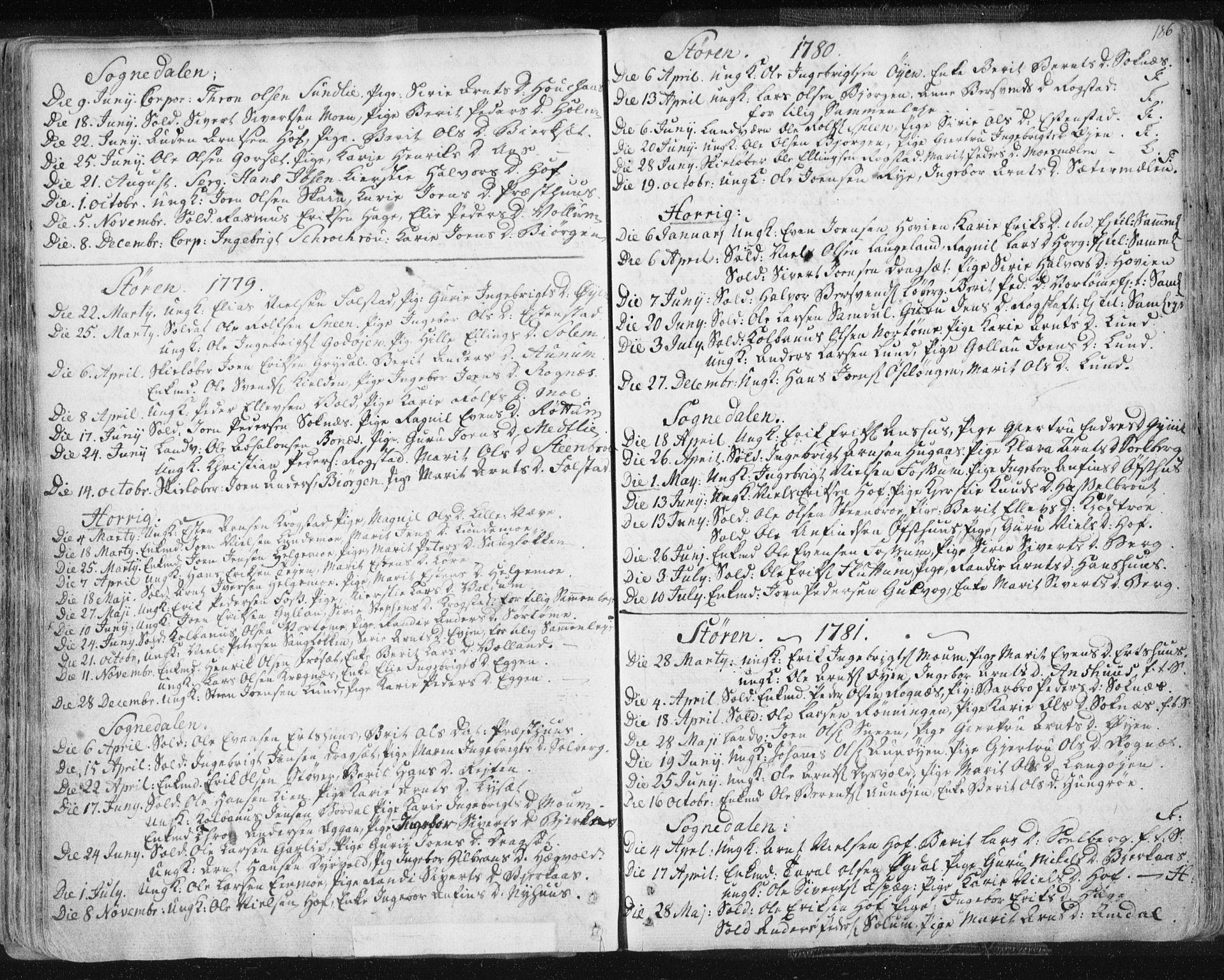 SAT, Ministerialprotokoller, klokkerbøker og fødselsregistre - Sør-Trøndelag, 687/L0991: Ministerialbok nr. 687A02, 1747-1790, s. 186