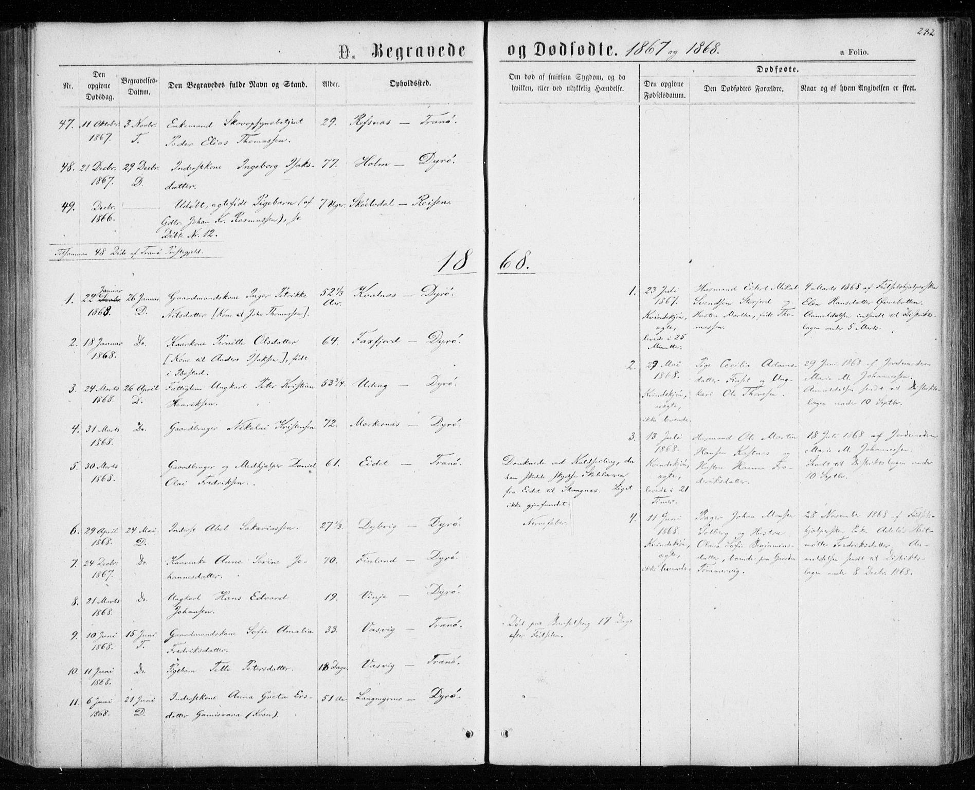 SATØ, Tranøy sokneprestkontor, I/Ia/Iaa/L0008kirke: Ministerialbok nr. 8, 1867-1877, s. 282