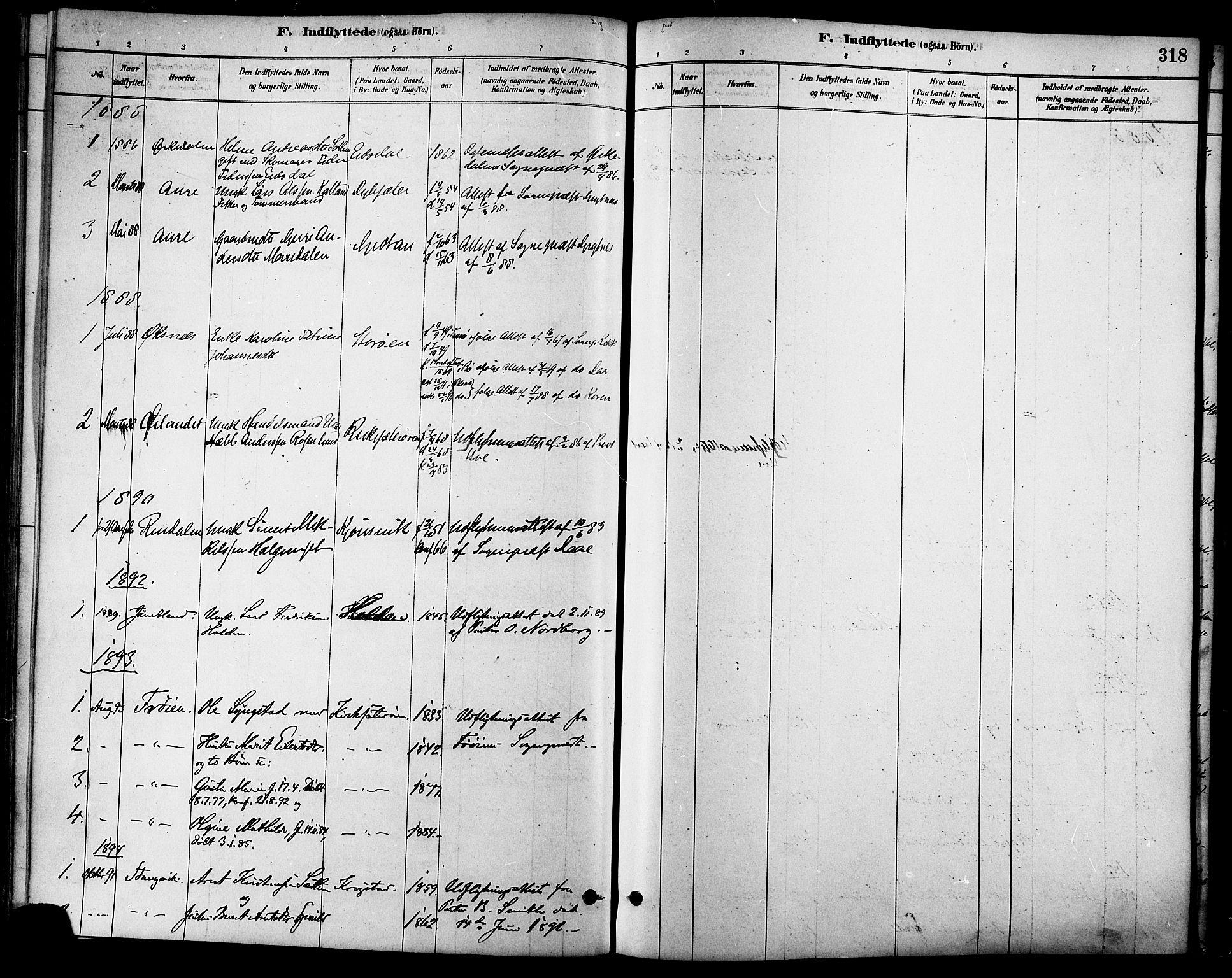 SAT, Ministerialprotokoller, klokkerbøker og fødselsregistre - Sør-Trøndelag, 630/L0496: Ministerialbok nr. 630A09, 1879-1895, s. 318