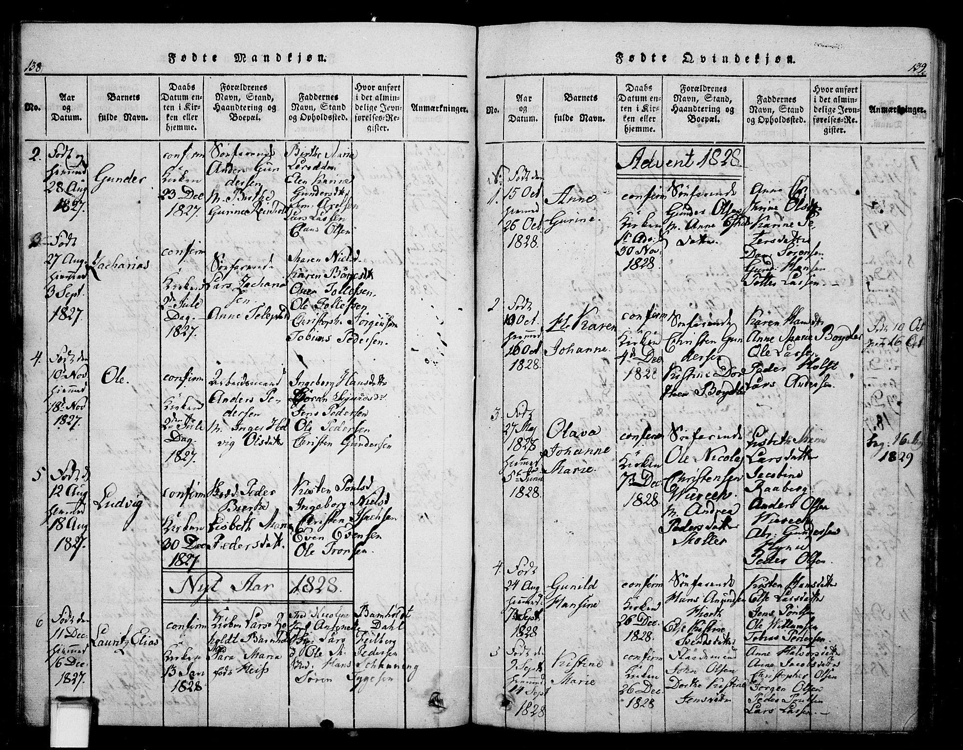 SAKO, Skien kirkebøker, G/Ga/L0002: Klokkerbok nr. 2, 1814-1842, s. 138-139