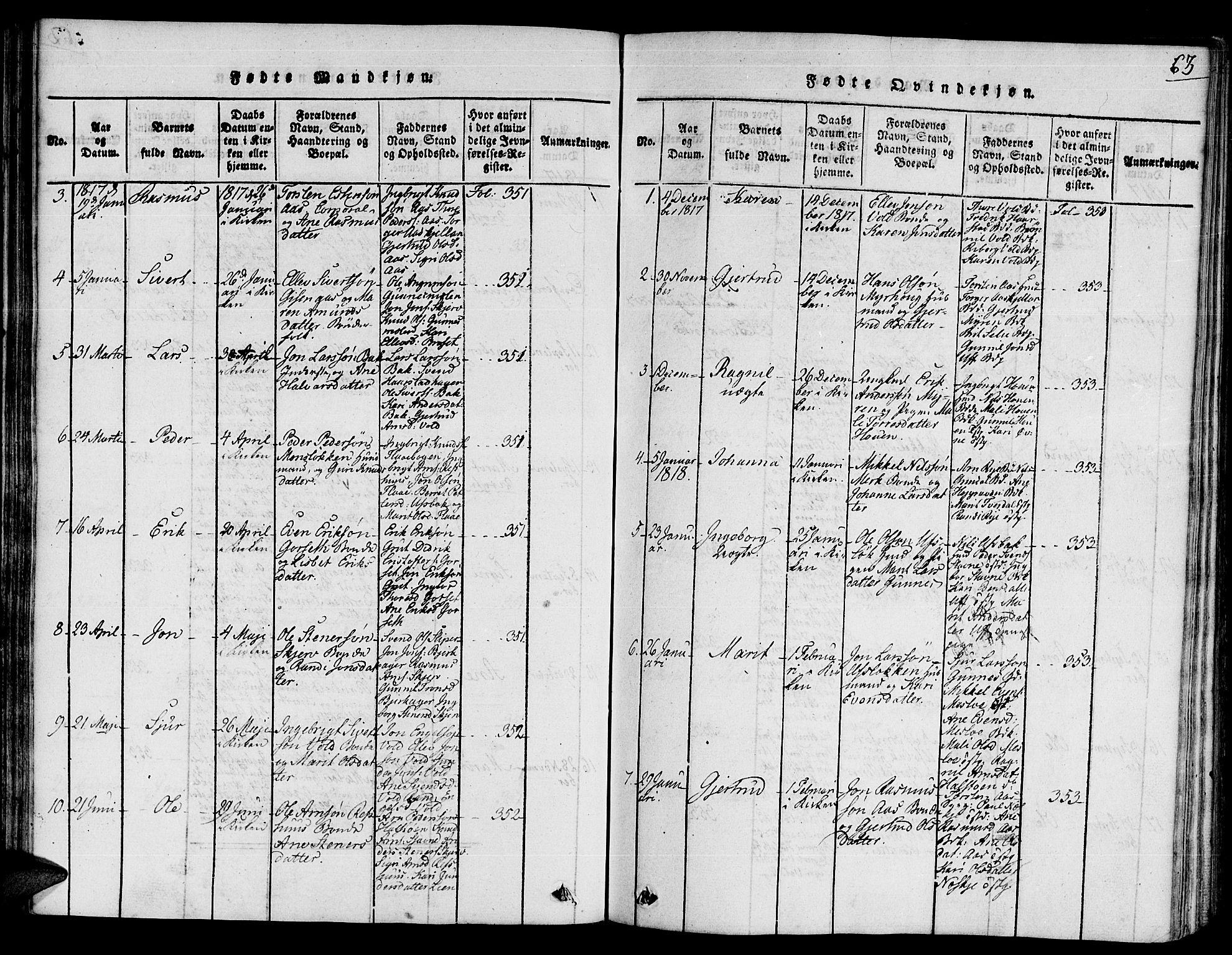 SAT, Ministerialprotokoller, klokkerbøker og fødselsregistre - Sør-Trøndelag, 672/L0854: Ministerialbok nr. 672A06 /2, 1816-1829, s. 63